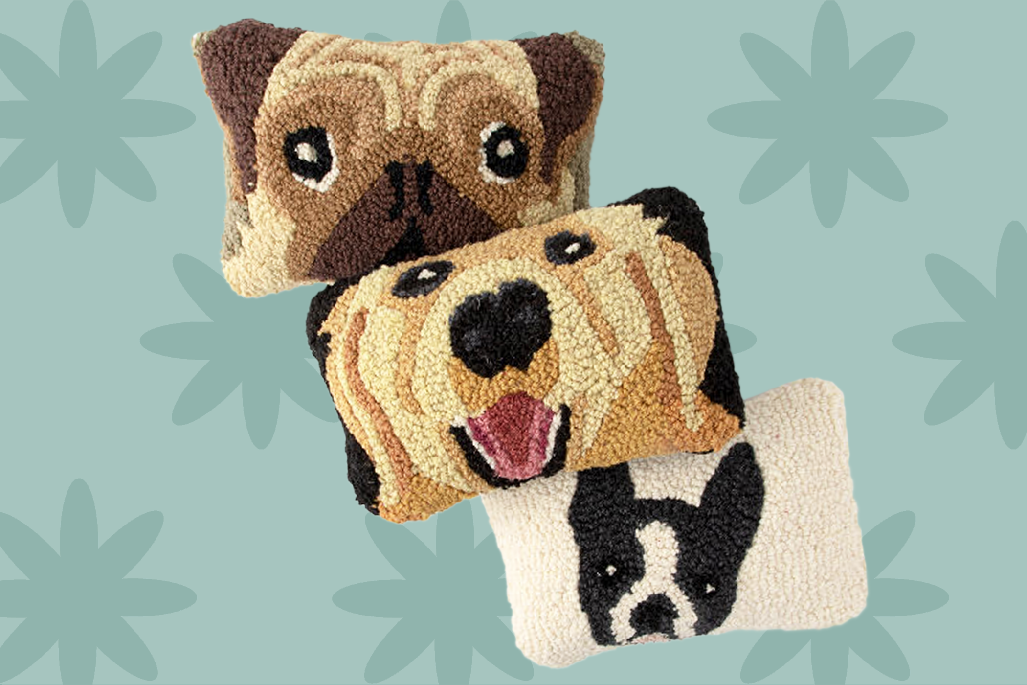 Wool hook-sewn dog faces on pillows