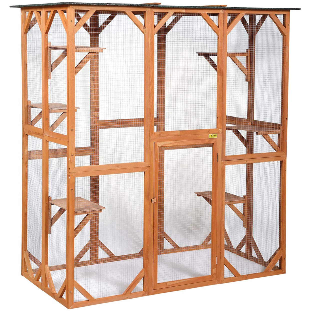 Large wooden outdoor cat enclosure