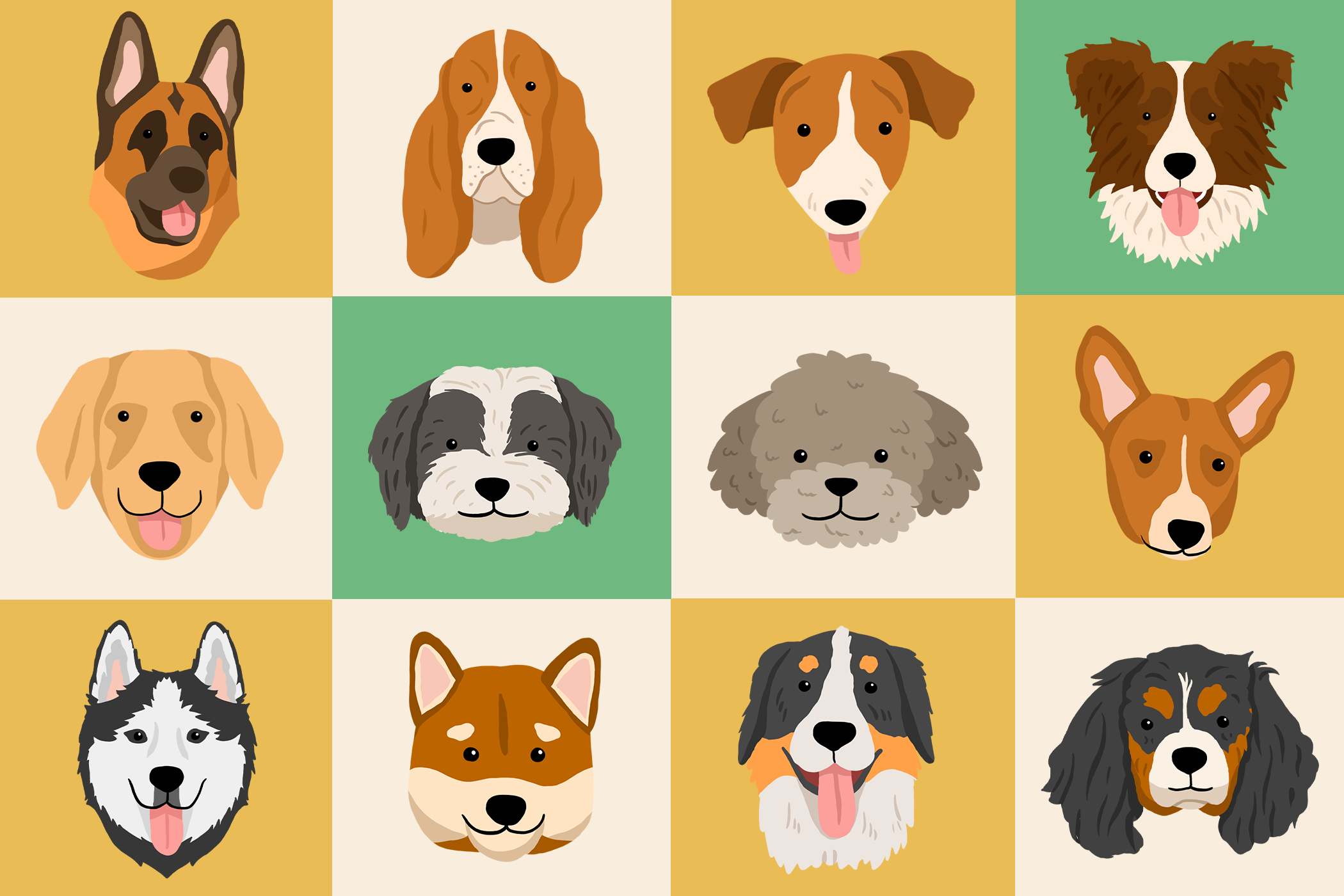 illustration of dog heads in a checker board grid