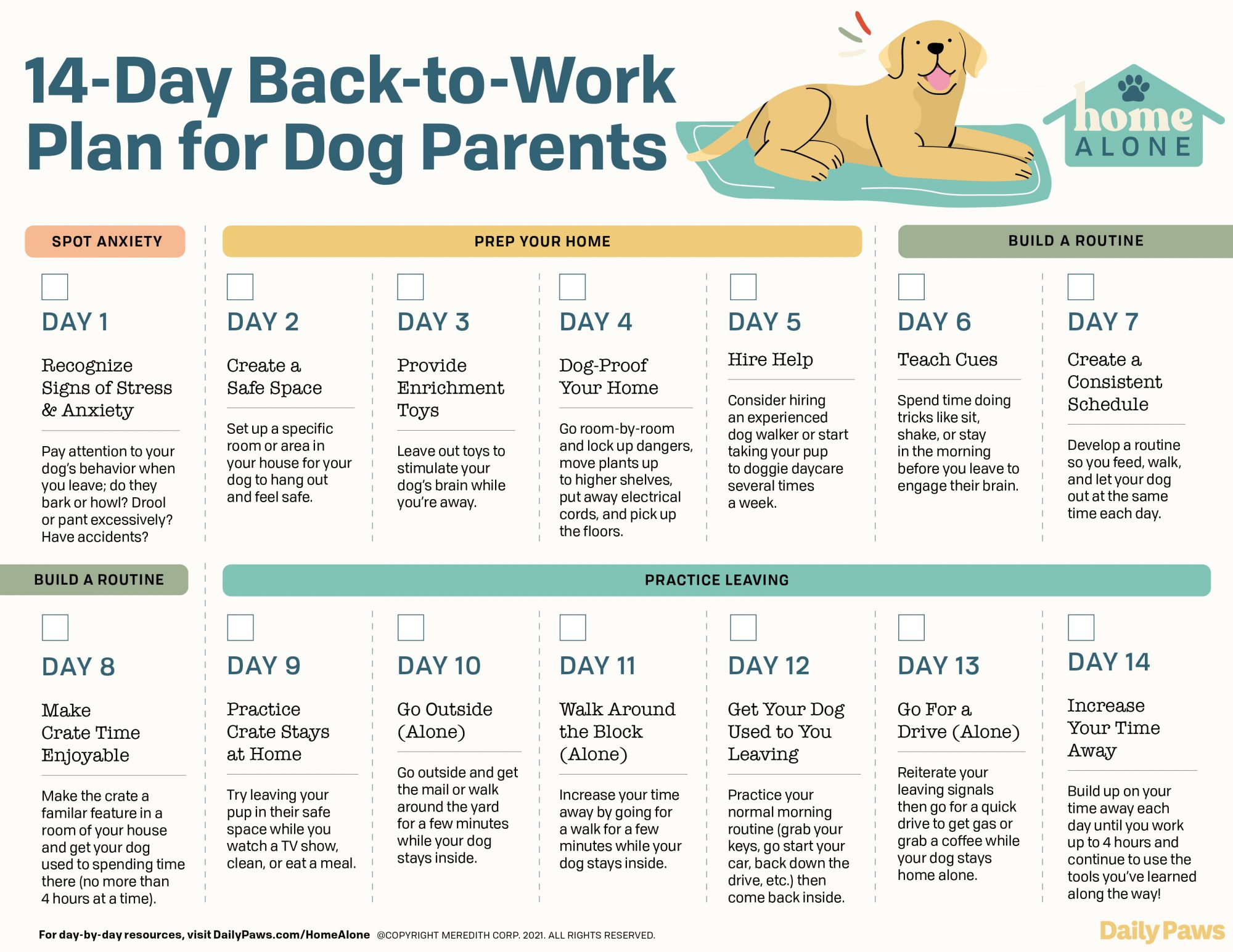 inforgraphic of a 14-Day Plan to going back to work