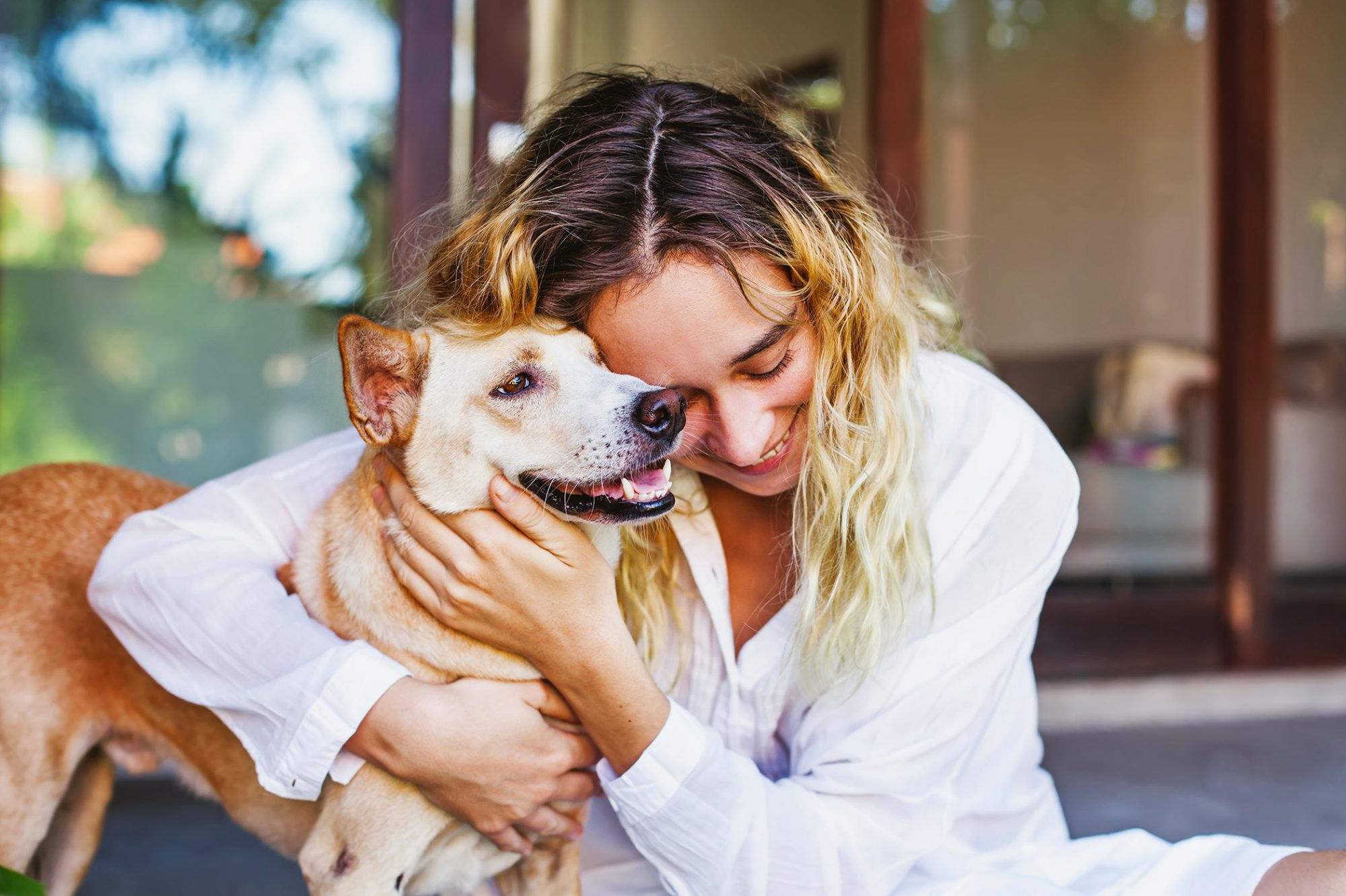 woman sitting down hugs mixed breed dog's face