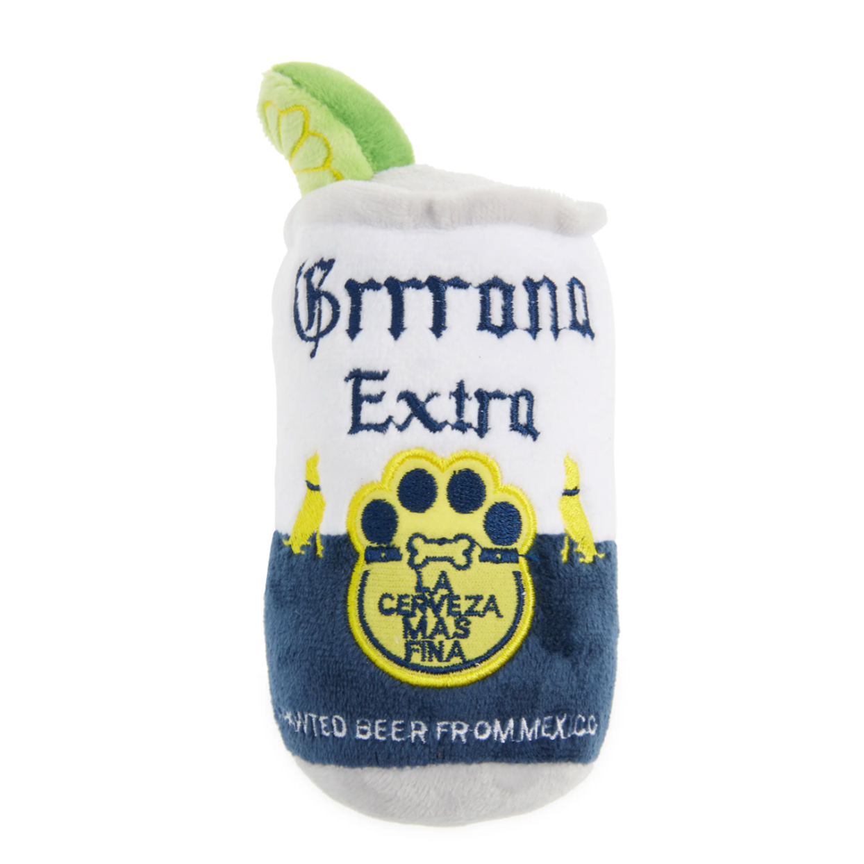 grrona beer can dog toy