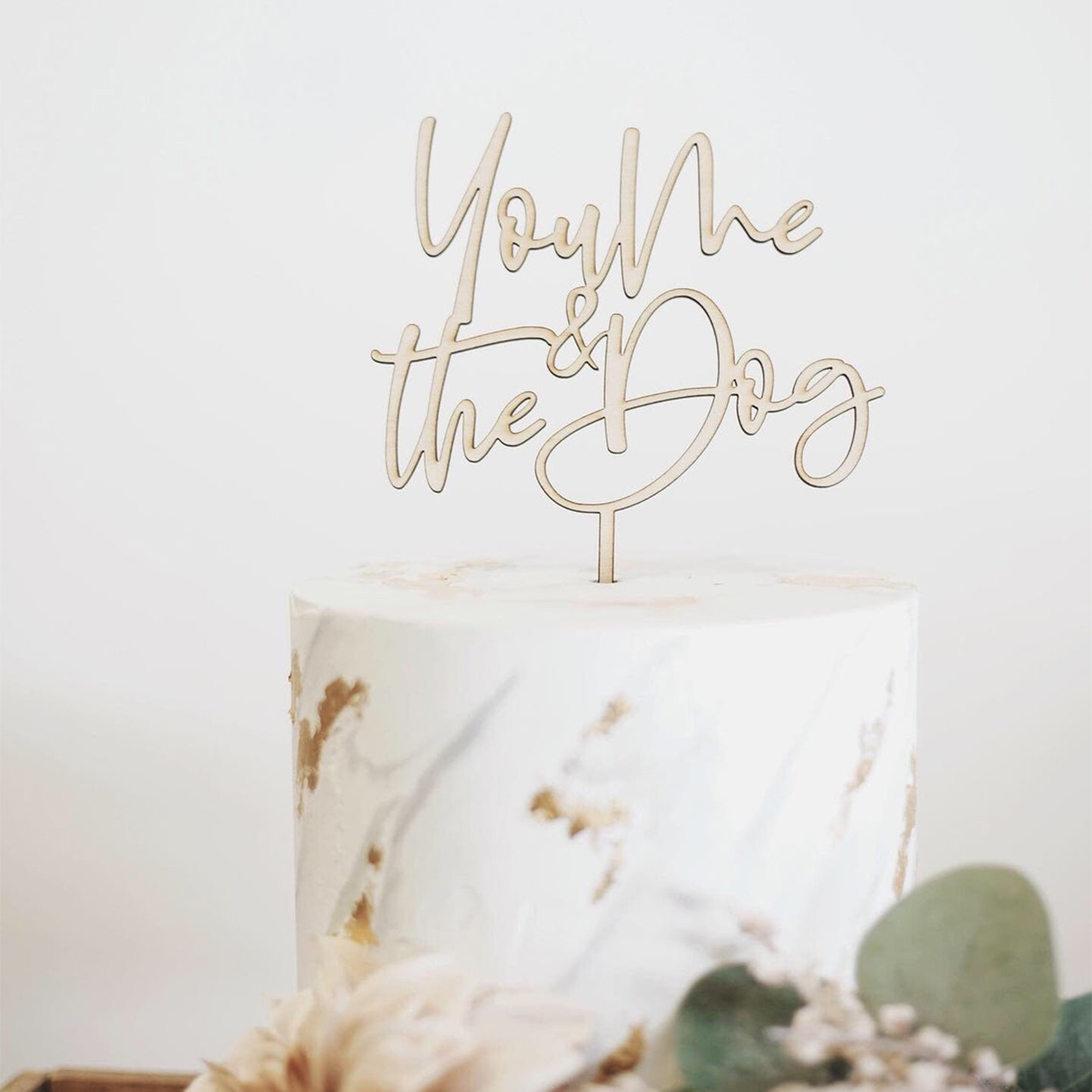 You me the dog cake topper