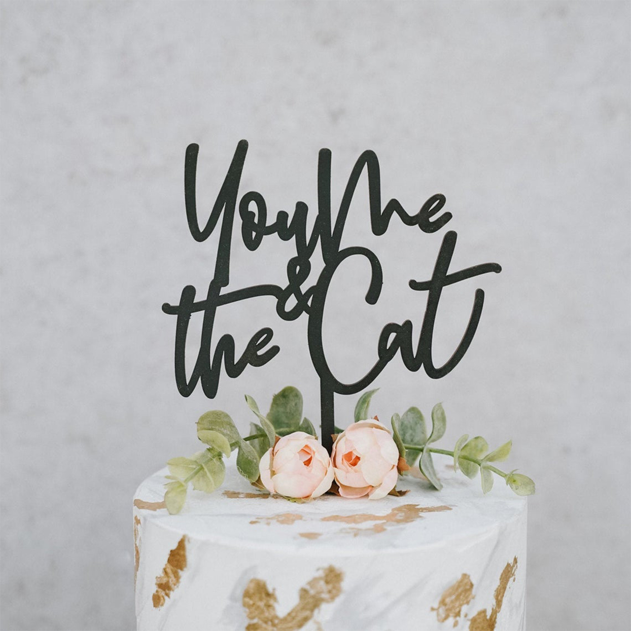you me the cat cake topper