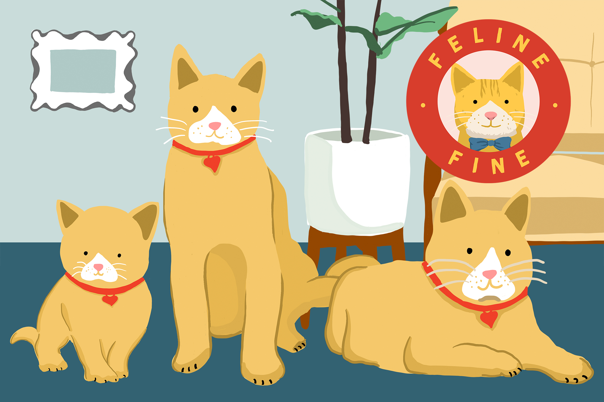 Illustration of three different cats at different ages with Feline Fine logo
