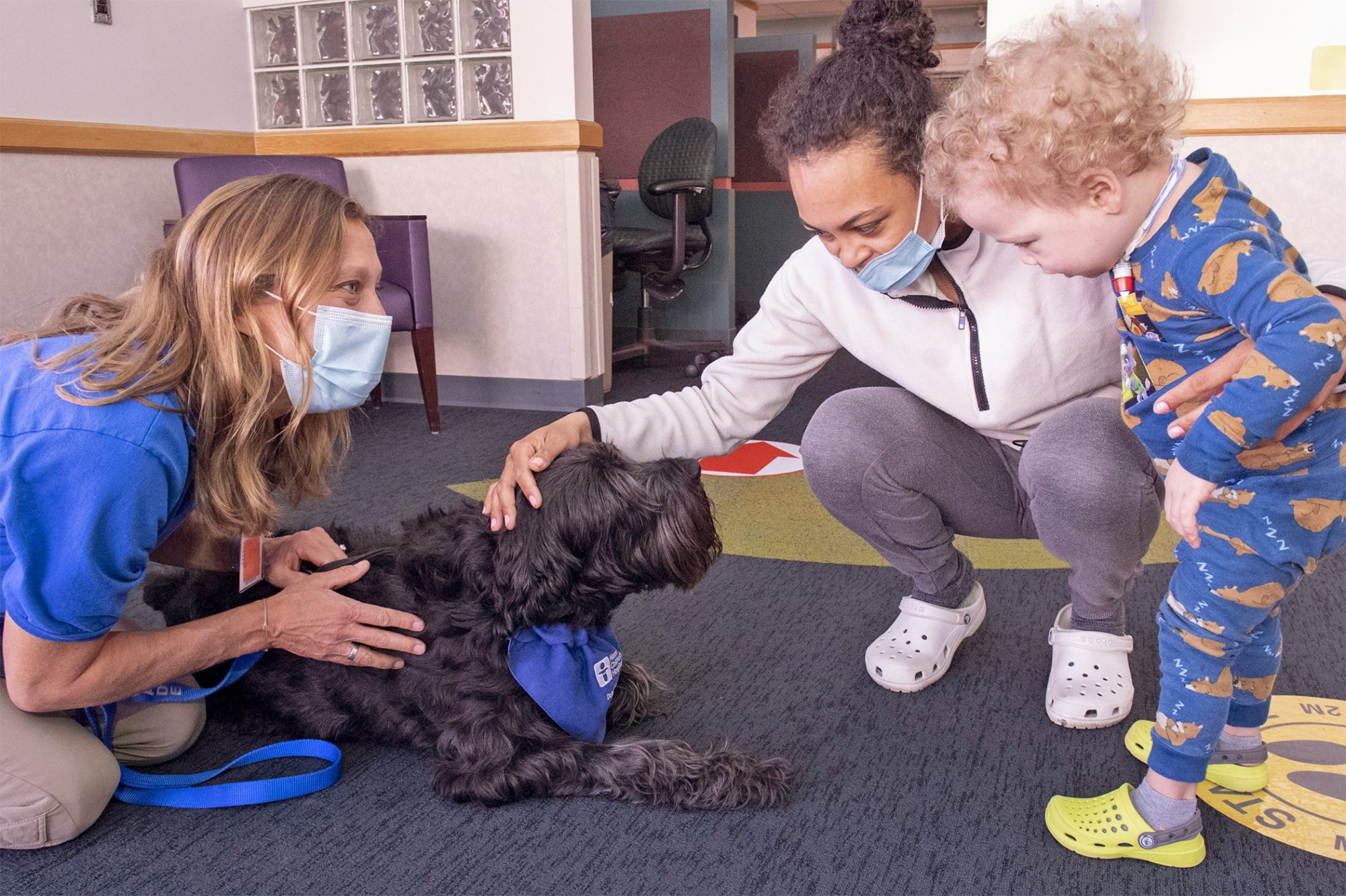 therapy dog comforting a pediatric toddler