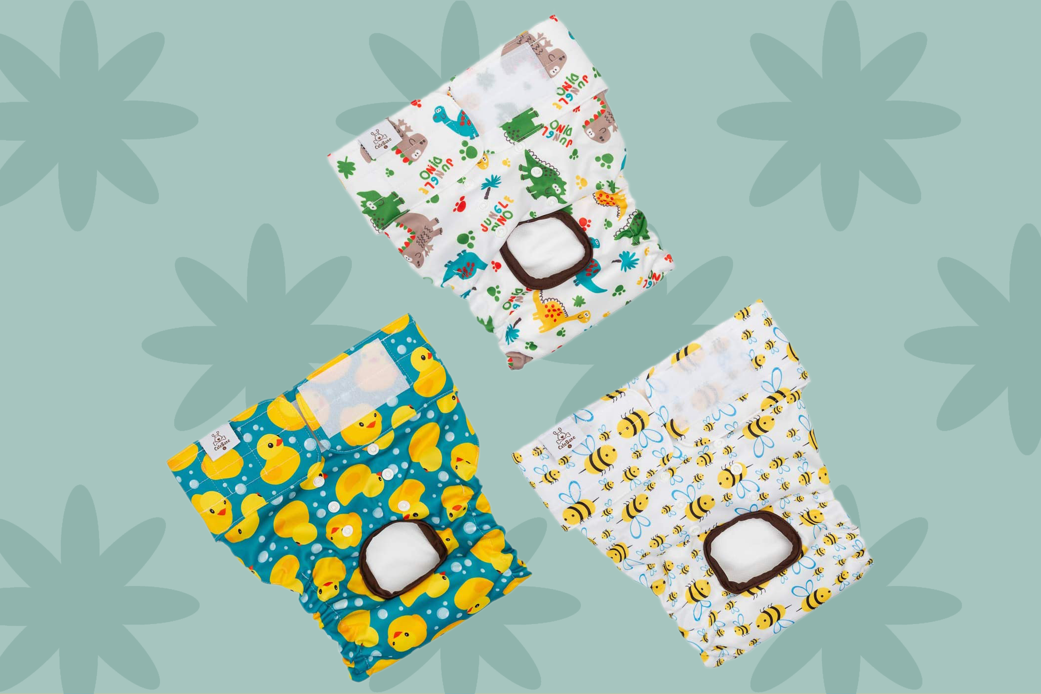 three cute patterned dog diapers by CuteBone from Amazon