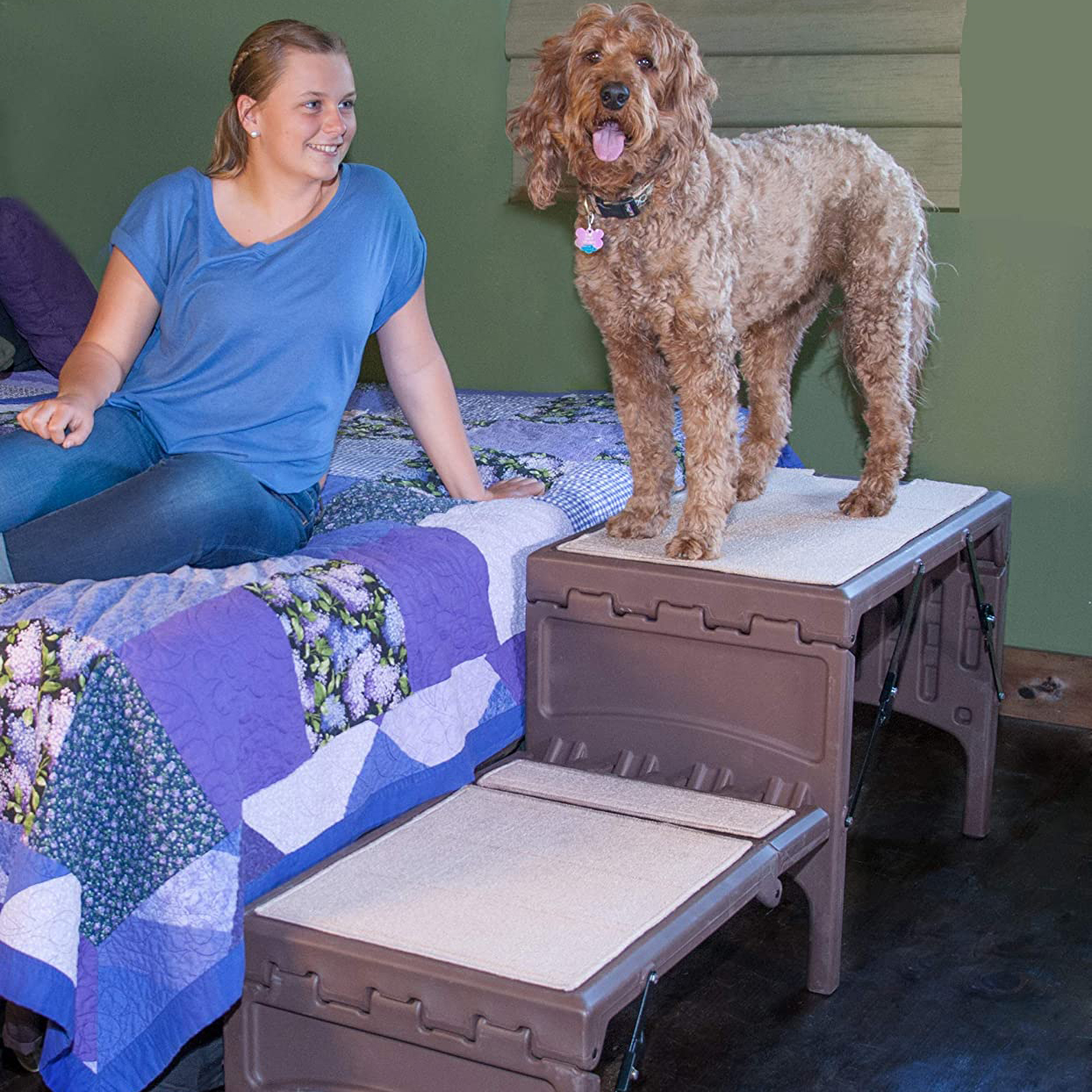Photo of Pet Gear Free Standing Foldable Dog Car Steps next to a bed