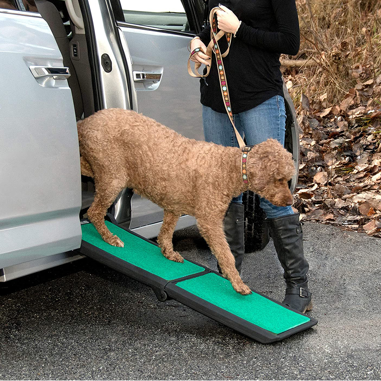 Photo of a dog walking down a Pet Gear Travel Lite Ramp attached to a van