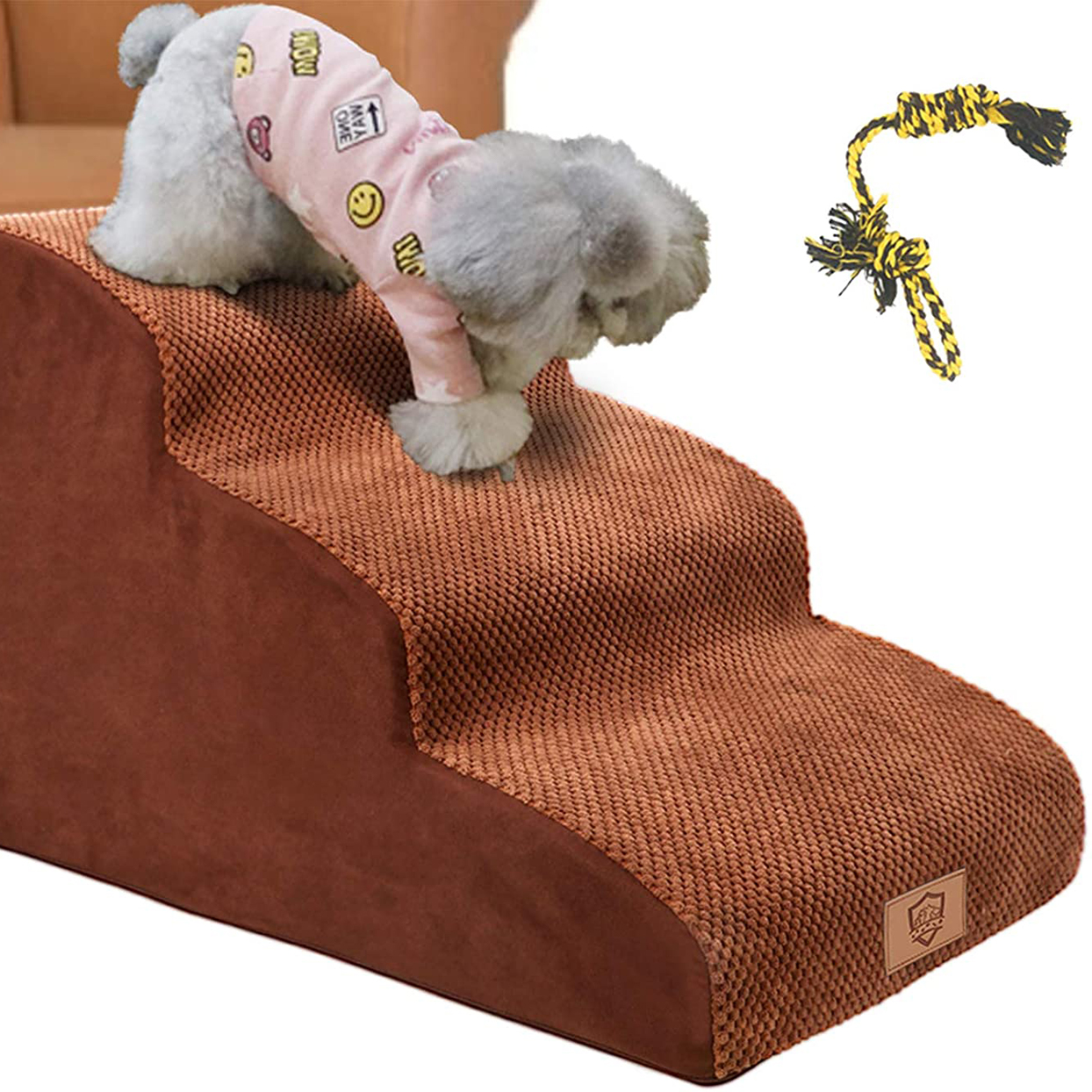 Photo of a dog walking down from a sofa on Topmart 3 Tiers Foam Dog Ramps/Steps
