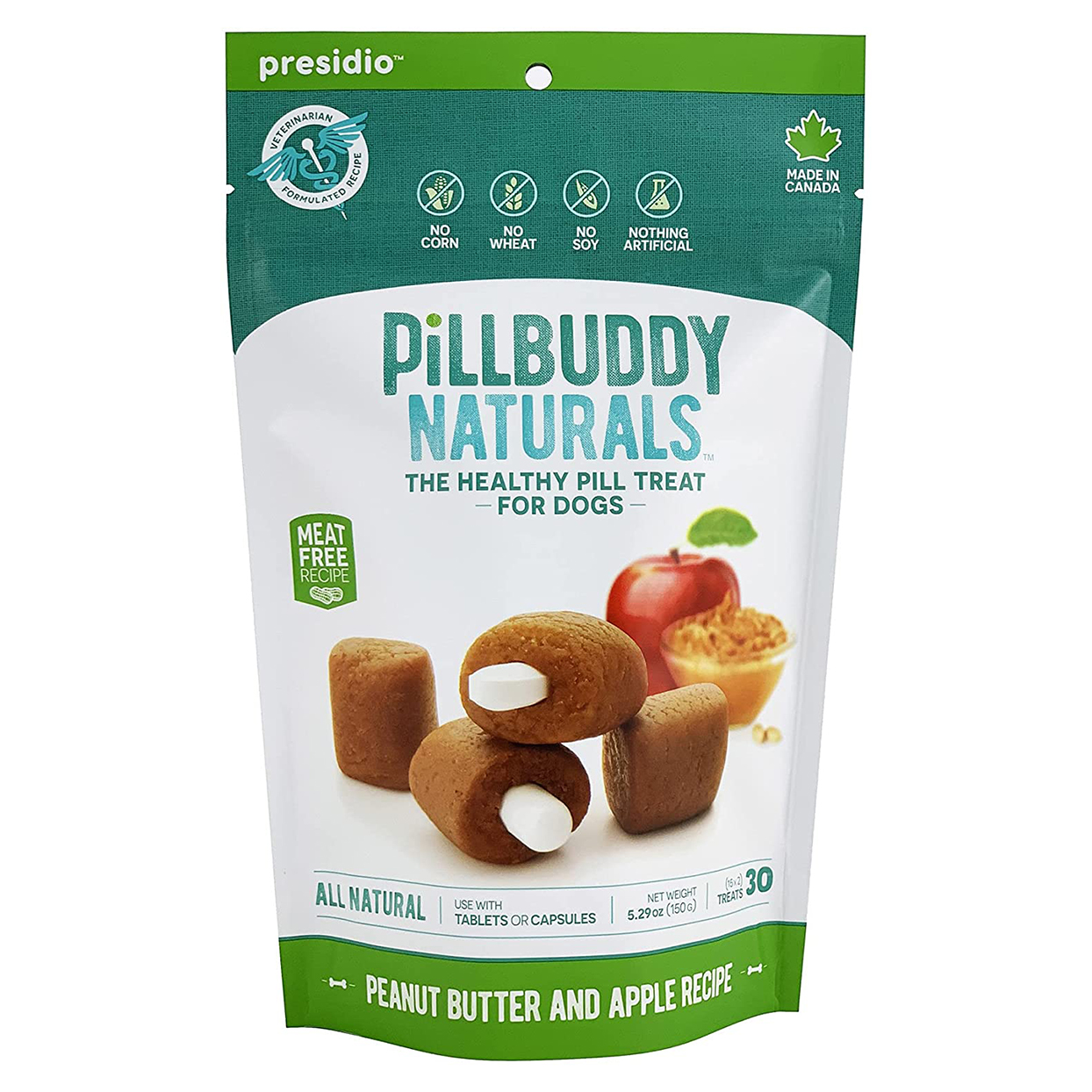 Bag of Pill Buddy Naturals in Peanut Butter and Apple on a white background
