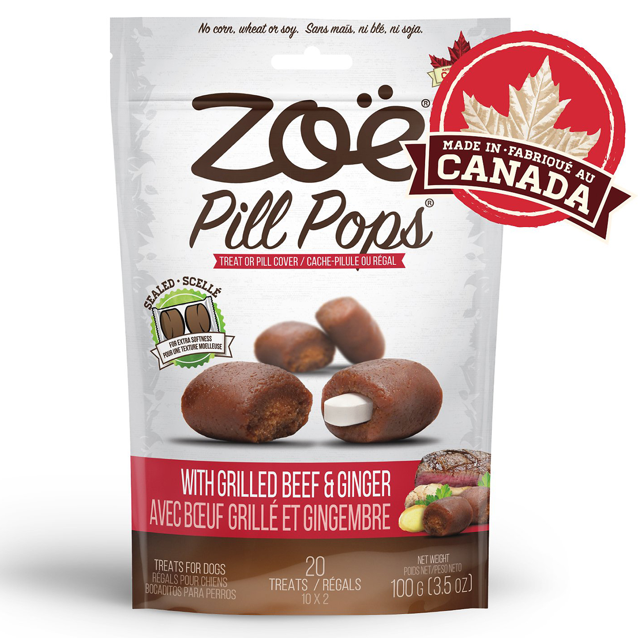 Bag of Zoe Grilled Beef with Ginger Pill Pops on a white background
