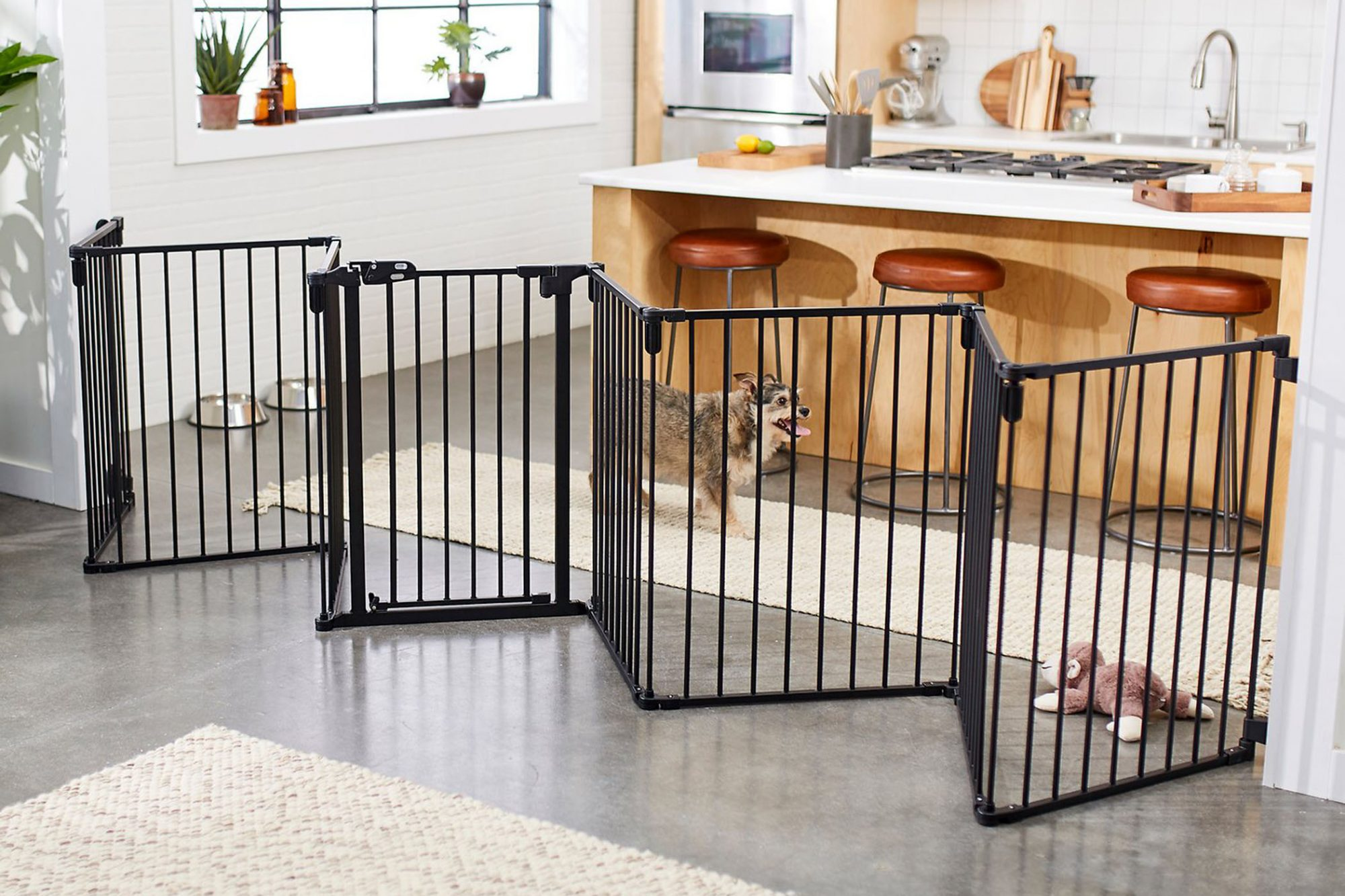 portable dog fence in kitchen
