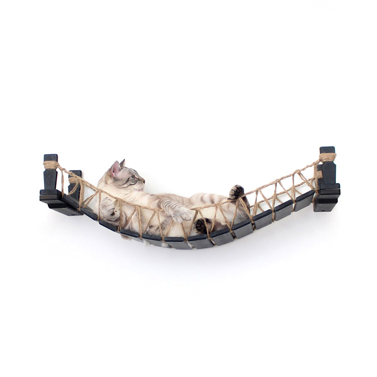 Cat lying in a CatastrophiCreations Cat Mod Bridge Lounge attached to a white well