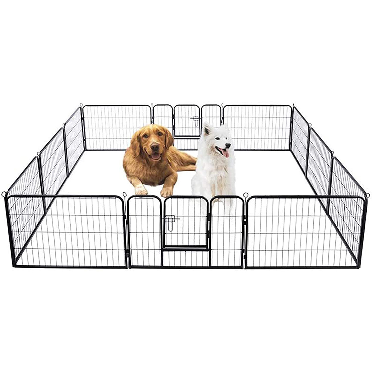 VIVOHOME Heavy Duty Foldable Metal Indoor Outdoor Exercise Pet Fence on a white background
