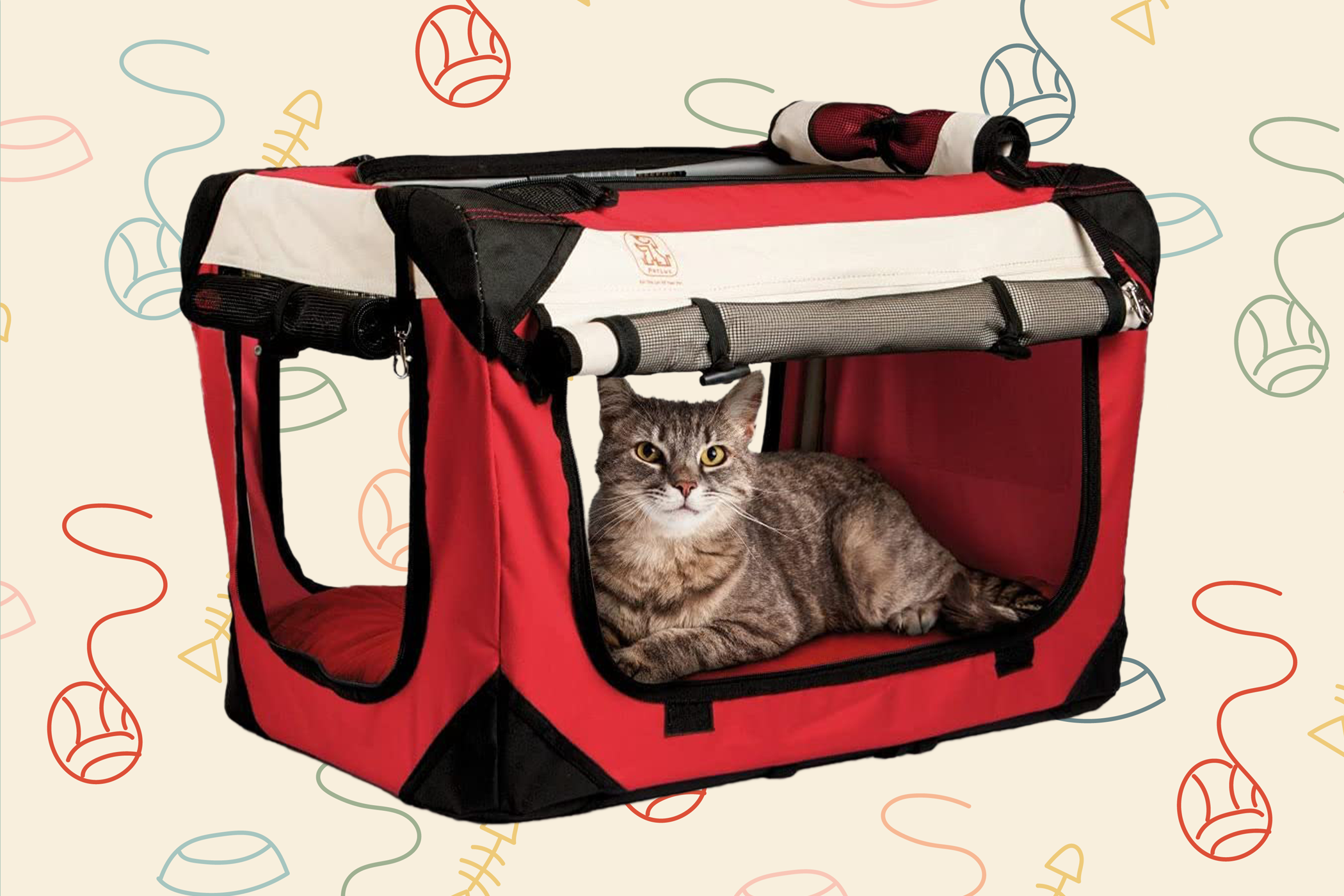 cat laying in a red cat carrier