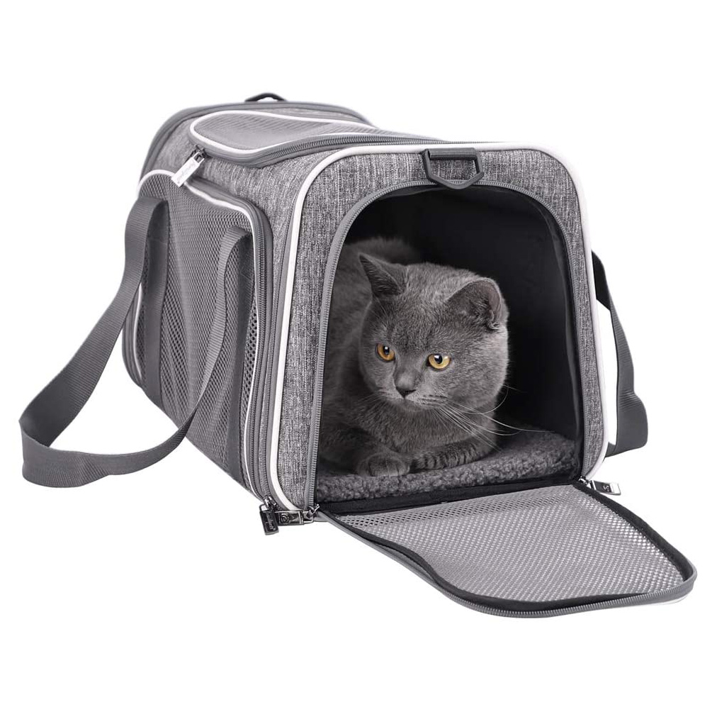 petisfam Pet Carrier for Medium Cats and Small Dogs with Washable Cozy Bed, 3 Doors and Shoulder Strap on a white background
