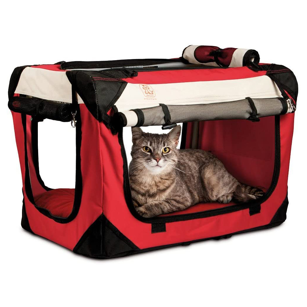 """PetLuv """"Happy Cat Premium Cat Carrier Soft Sided Foldable Top & Side Loading Pet Crate & Carrier on a white background"""