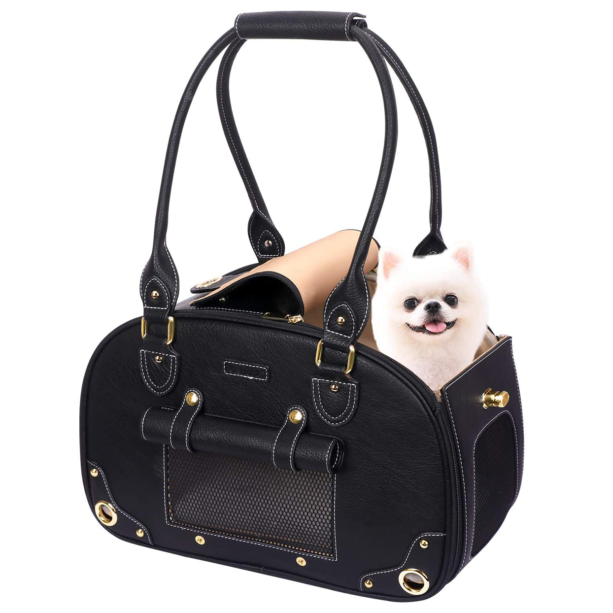 PetsHome Dog Carrier Purse, Pet Carrier, Cat Carrier, Foldable Waterproof Premium Leather Pet Purse Portable Bag Carrier for Cat and Small Dog Home & Outdoor on a white background