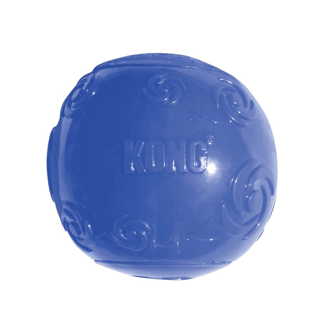 Blue Kong Squeezz Ball Dog Toy on a white background