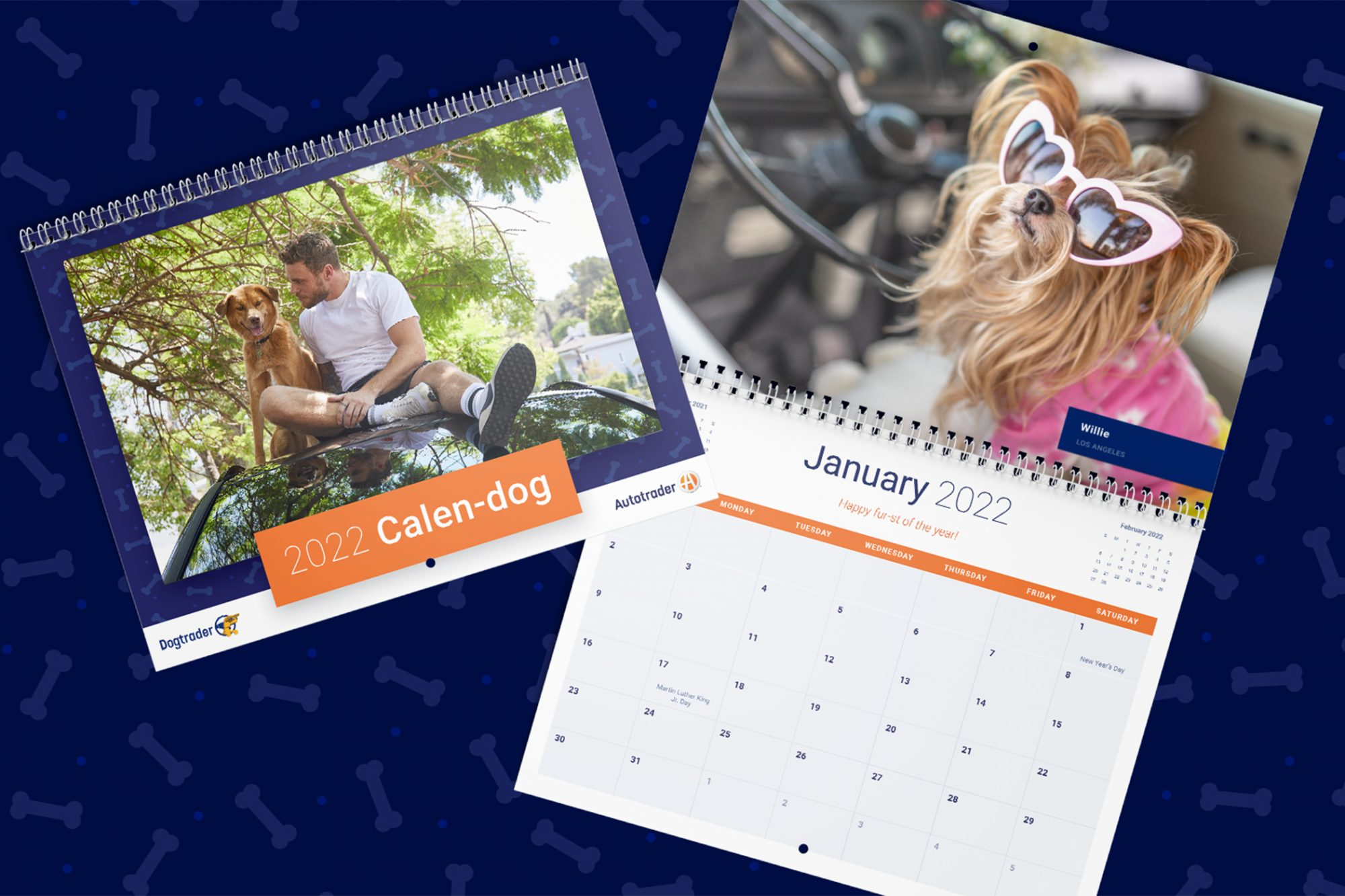Gus Kenworthy and Birdie on the cover of a calendar