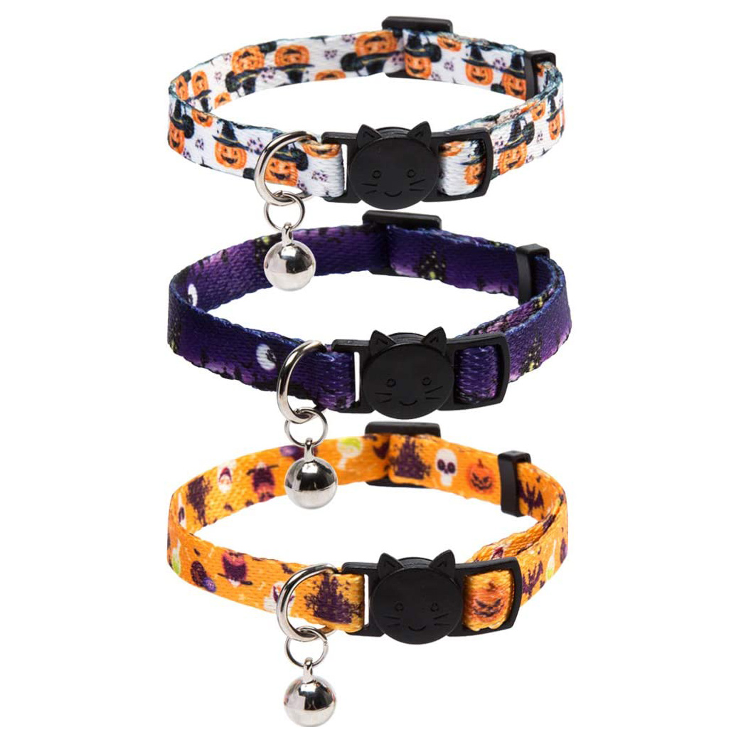3 Pack Halloween Cat Collars on a white background
