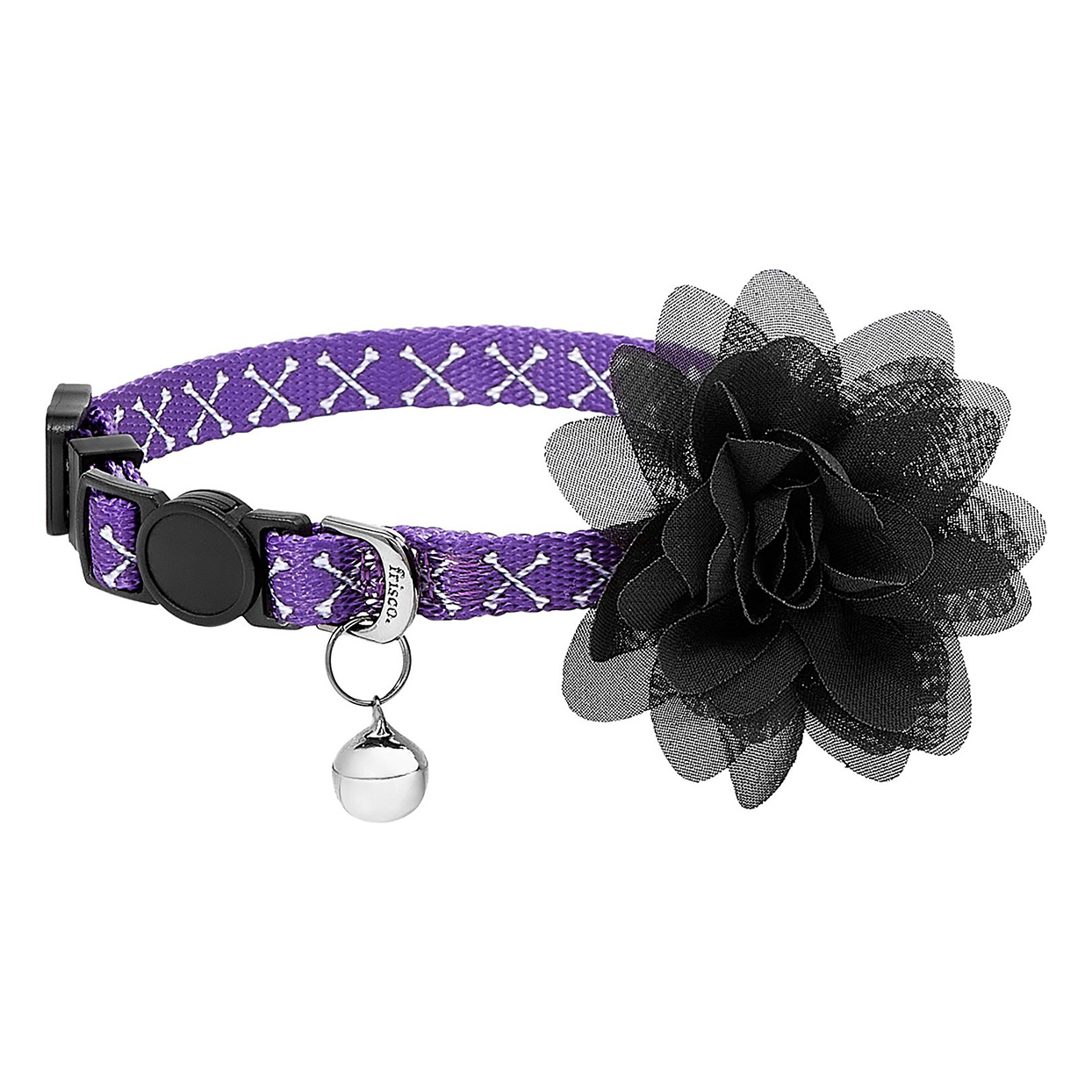 Frisco Crossbones Cat Collar with Black Flower on a white background