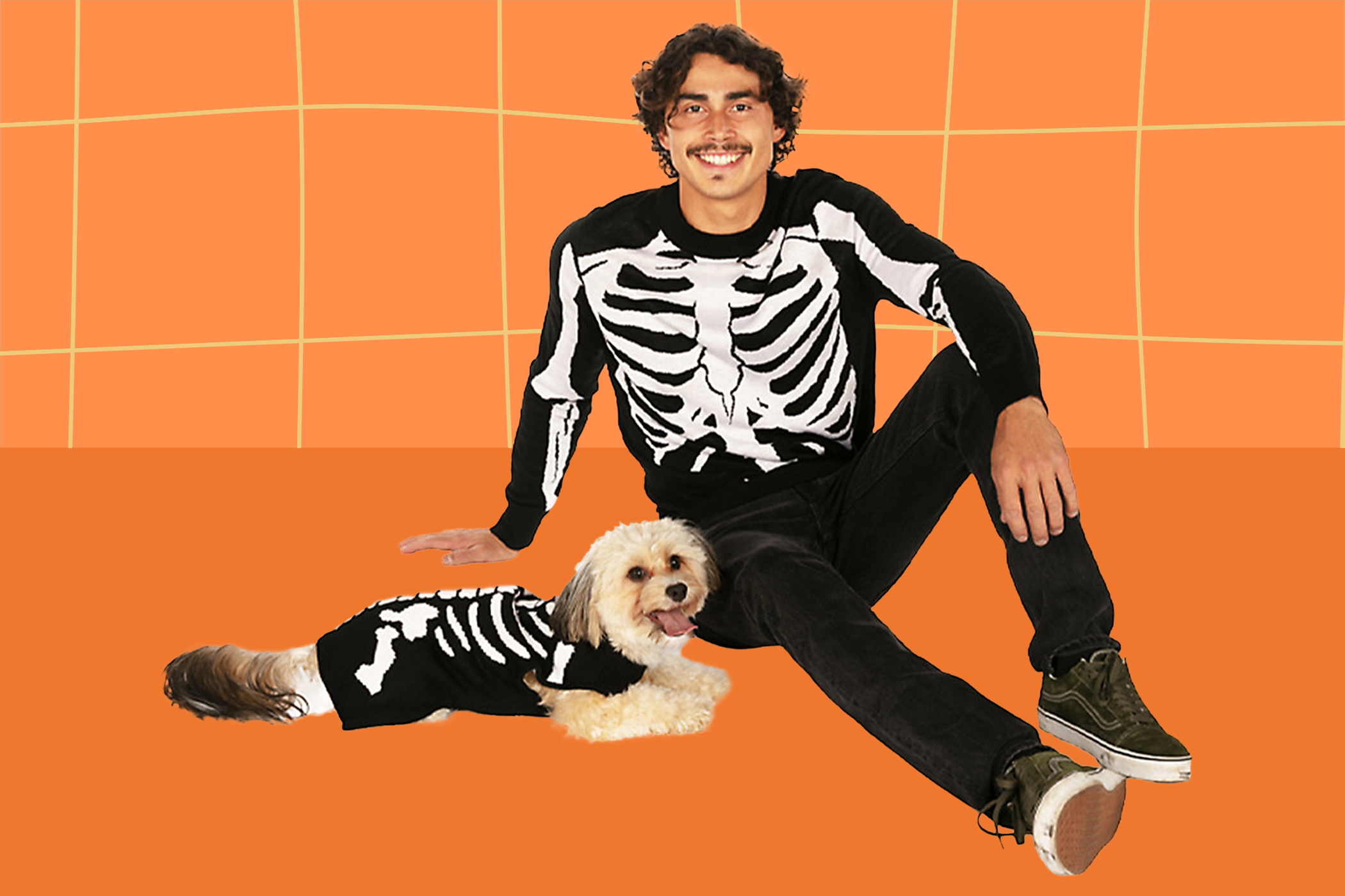 dog and owner skeleton halloween costumes