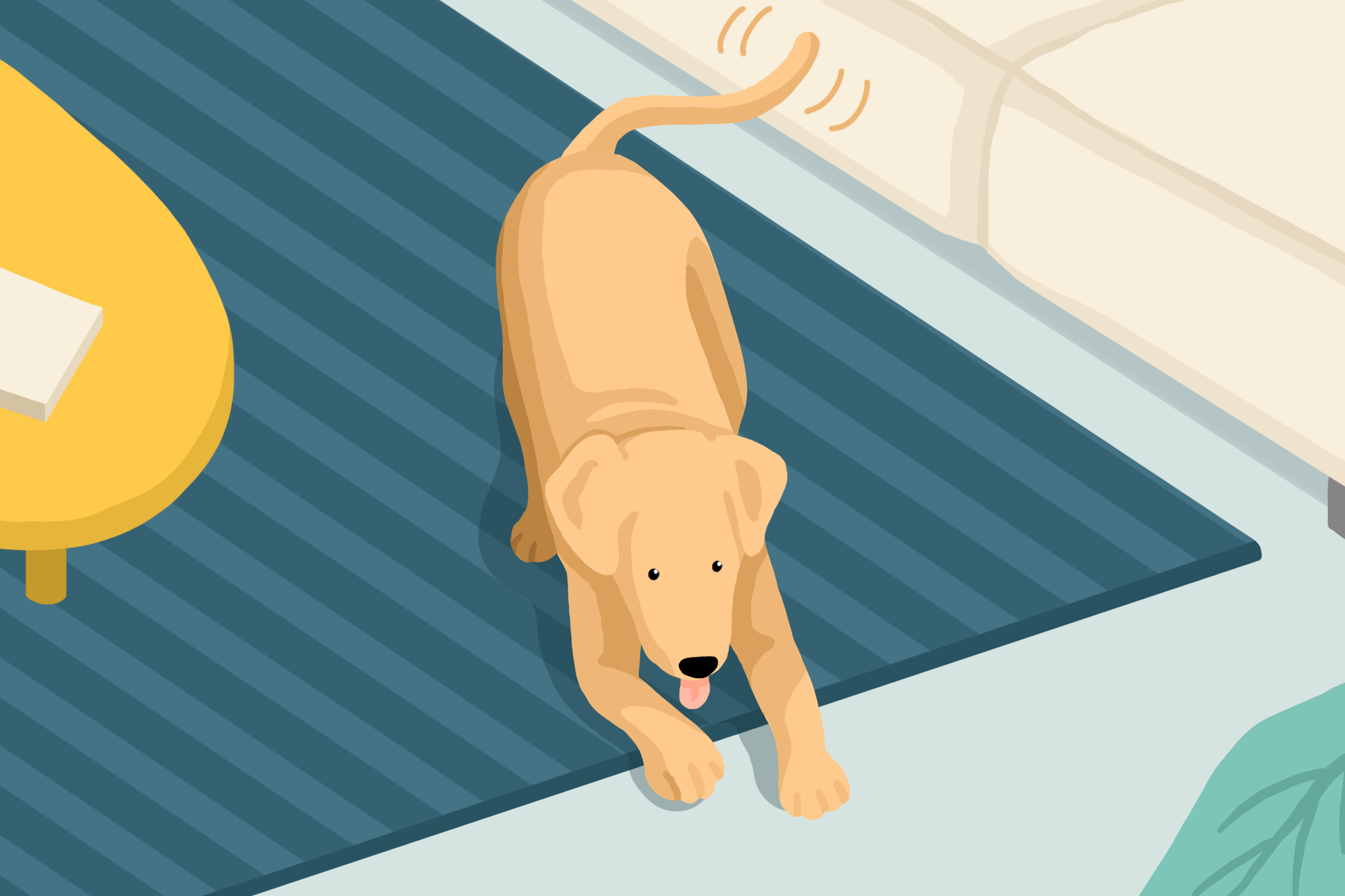 illustration of dog wagging his tail