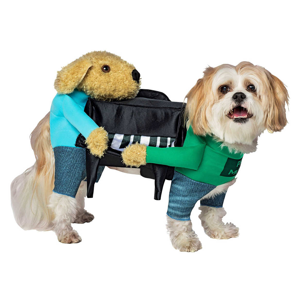 Dog wearing the Dogs Carrying Pianos Pet Costume on a white background