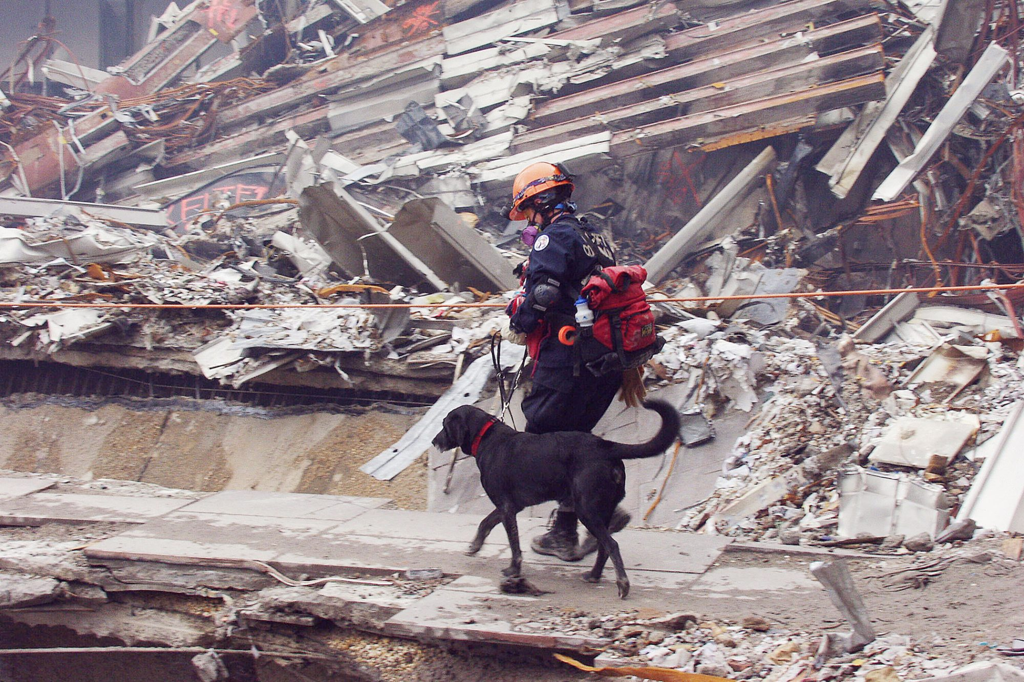 Colorado Task Force member Ann Wichmann walking across a large pile of rubble with her search and rescue 9/11 dog Jenner at the World Trade Center site