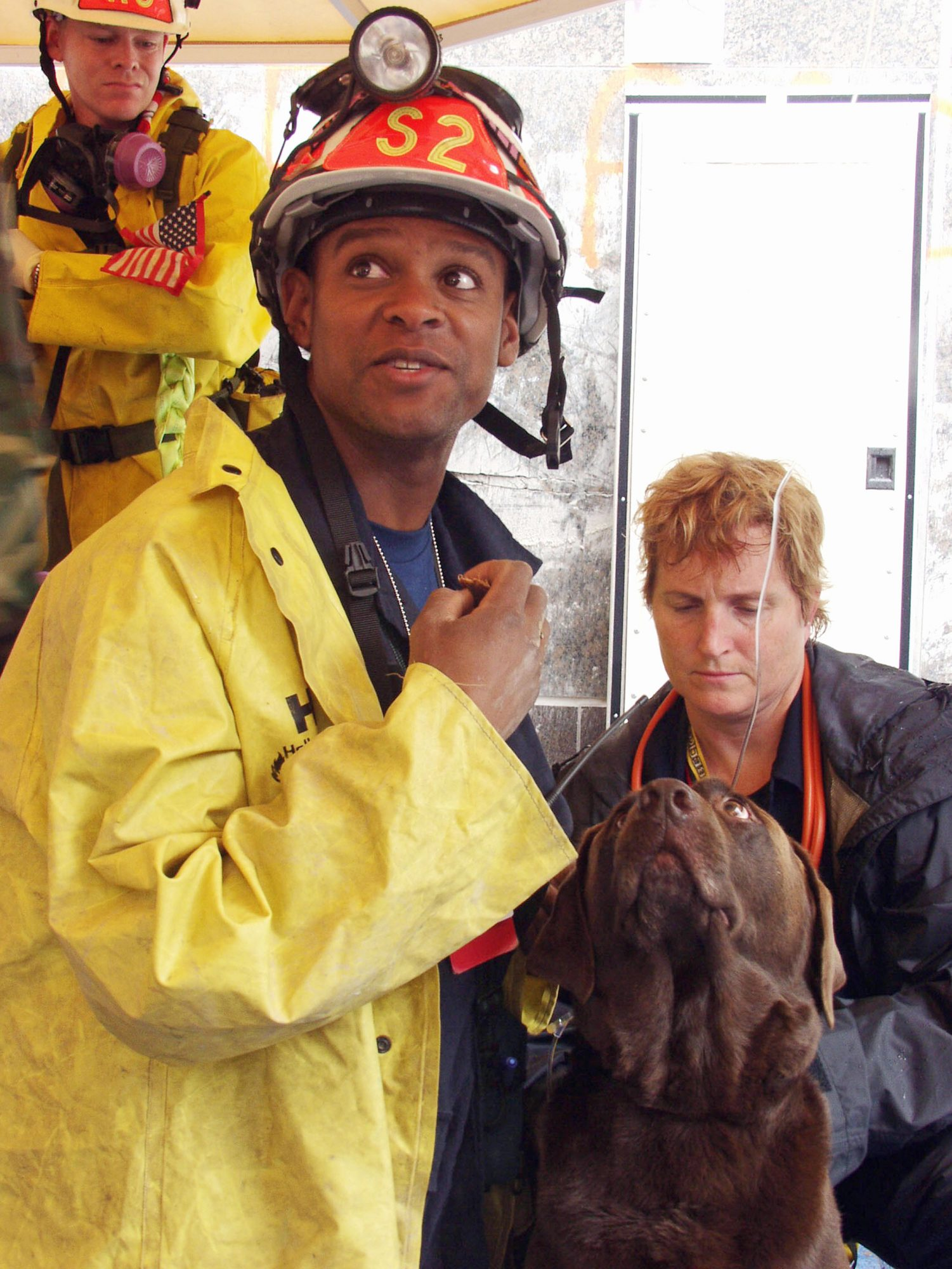 9/11 Dog brown lab sitting next to a FEMA rescuer in a yellow coat