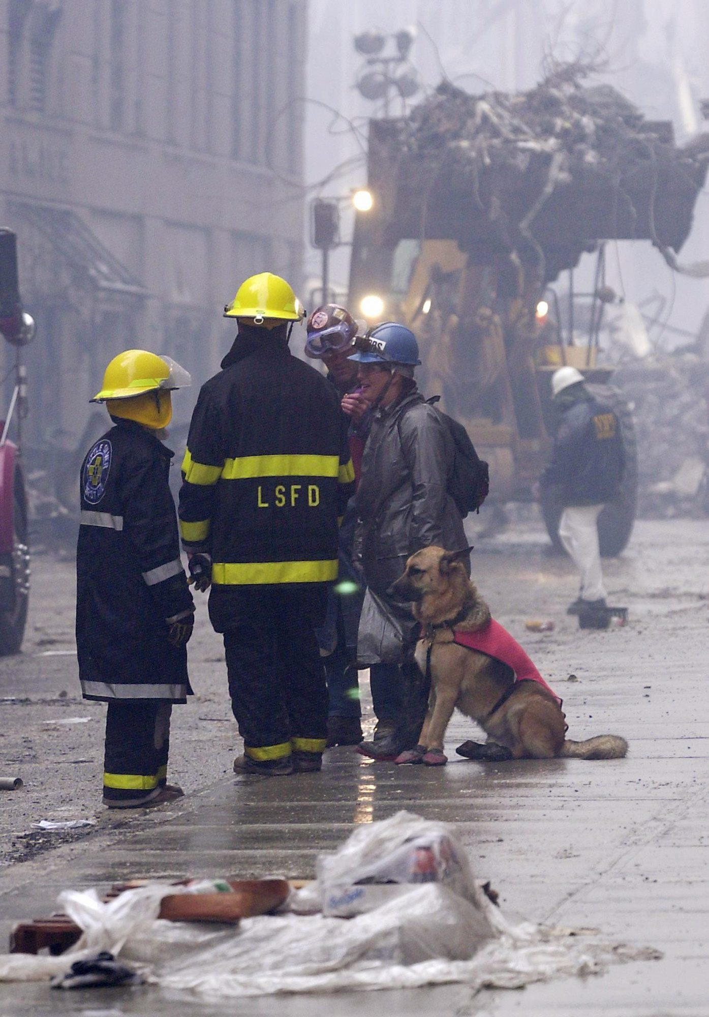 9/11 Dog with firefighters during the rescue and cleanup after the attacks