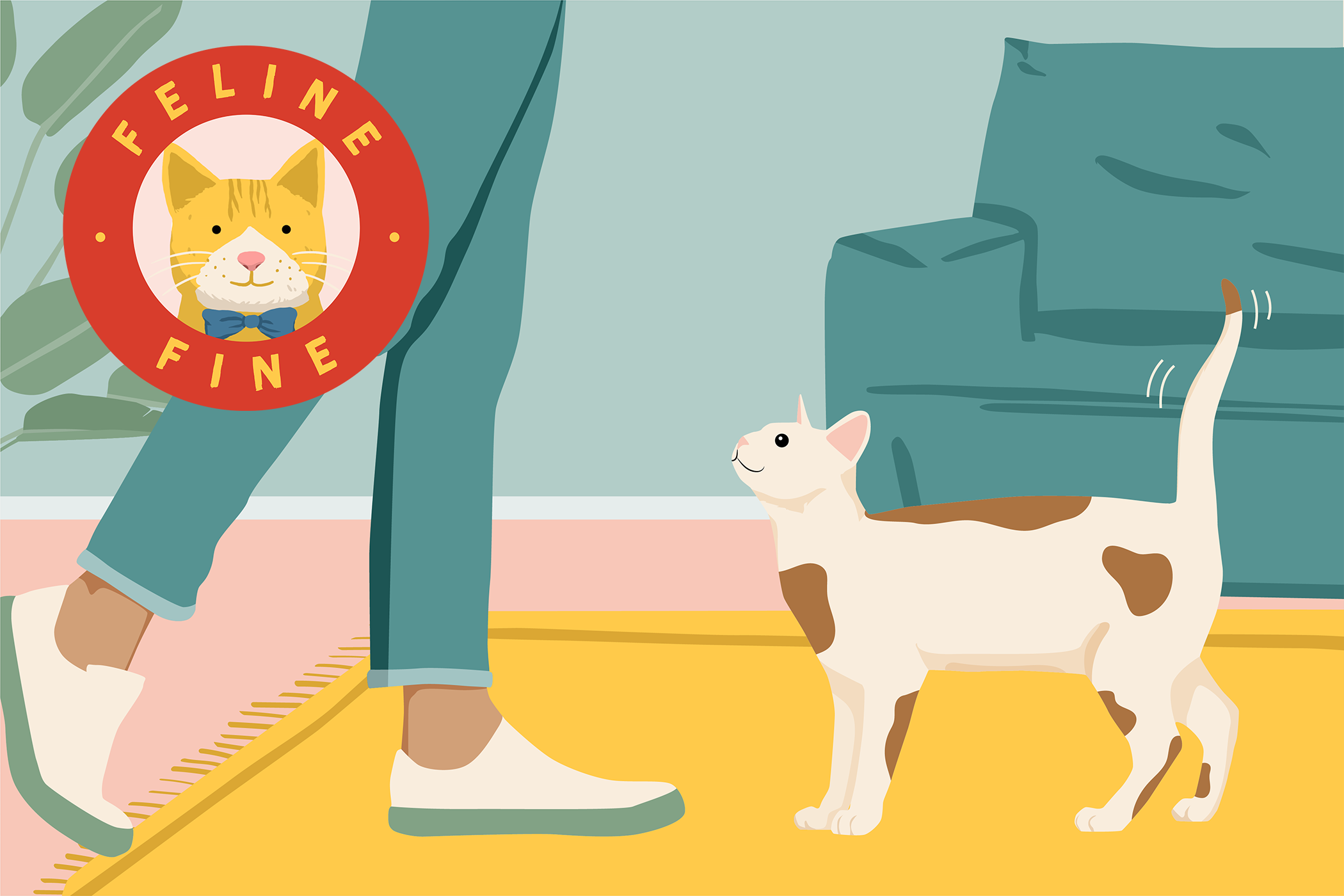 cat happily wagging his tail at his human with Feline Fine logo