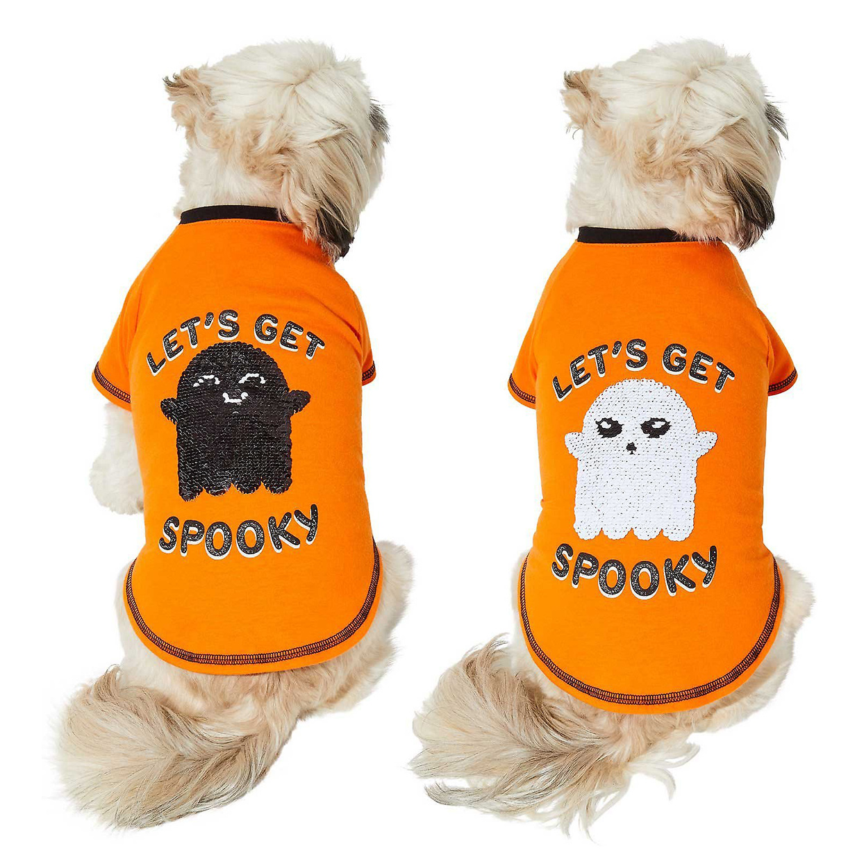 Two dogs wearing Frisco Sequin Let's Get Spooky Dog & Cat T-Shirts on a white background