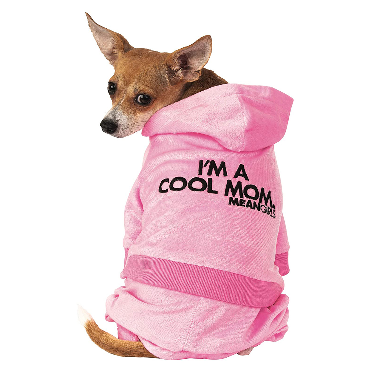 Dog wearing a Rubie's Mean Girls Mom Track Suit Pet Costume on a white background