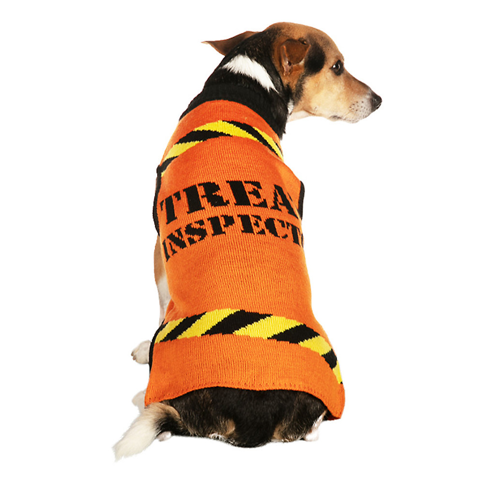"""Dog wearing a Tipsy Elves® Halloween """"Treat Inspector"""" Dog Sweater on a white background"""