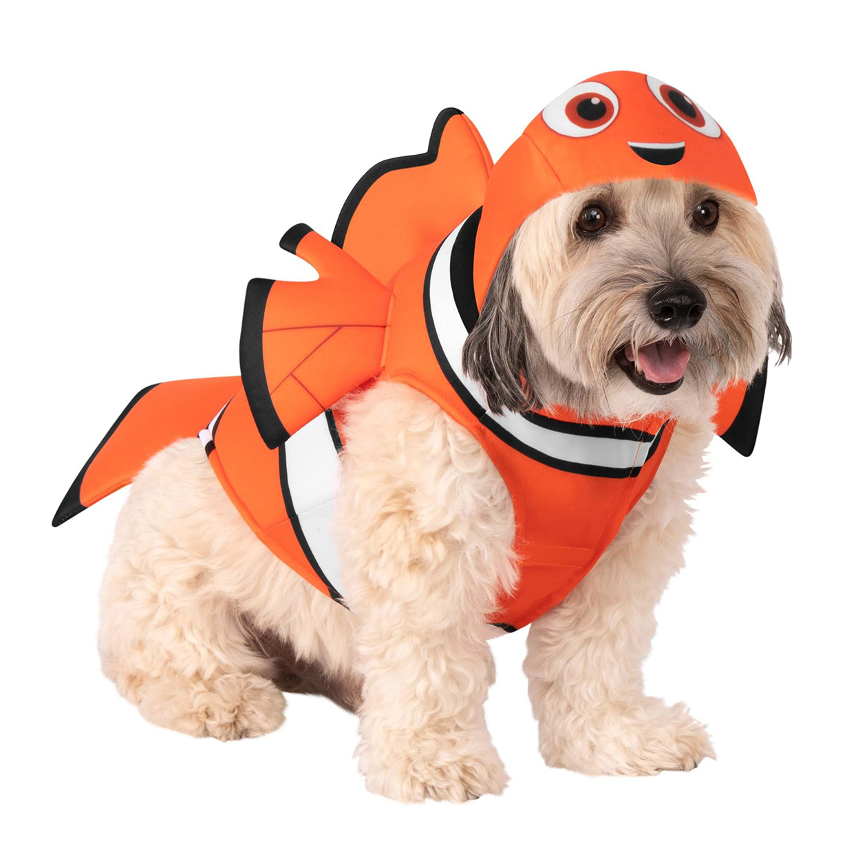 Dog wearing a Finding Nemo Dog Costume on a white background