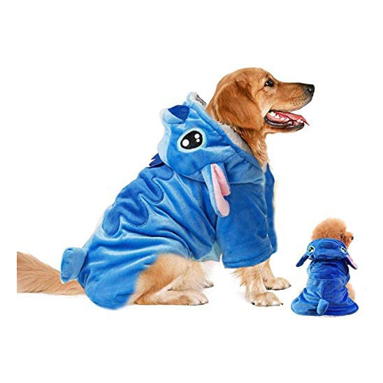 Two dogs wearing Gimilife Disney Stitch Costumes on a white background