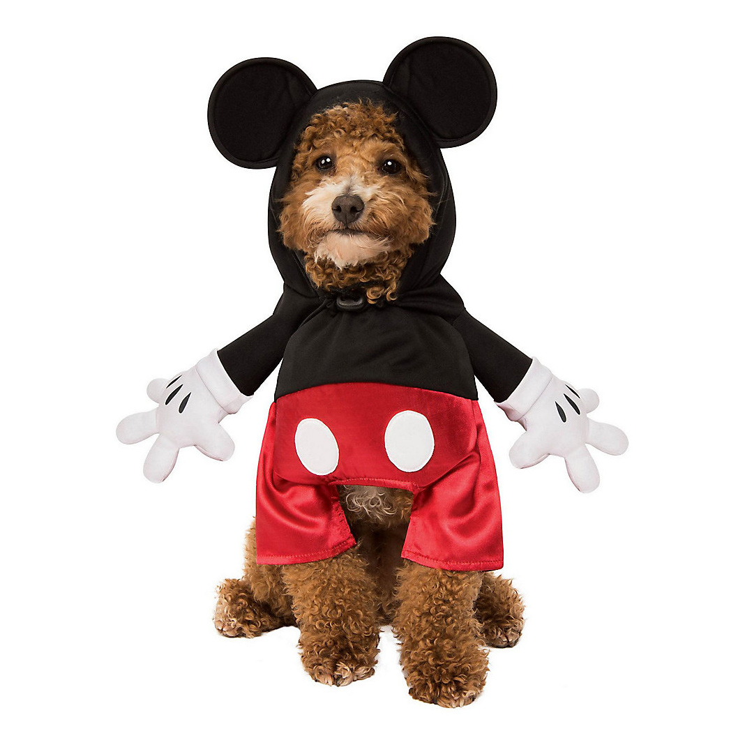 Dog wearing a Rubie's Costume Company Mickey Mouse Dog Costume on a white background