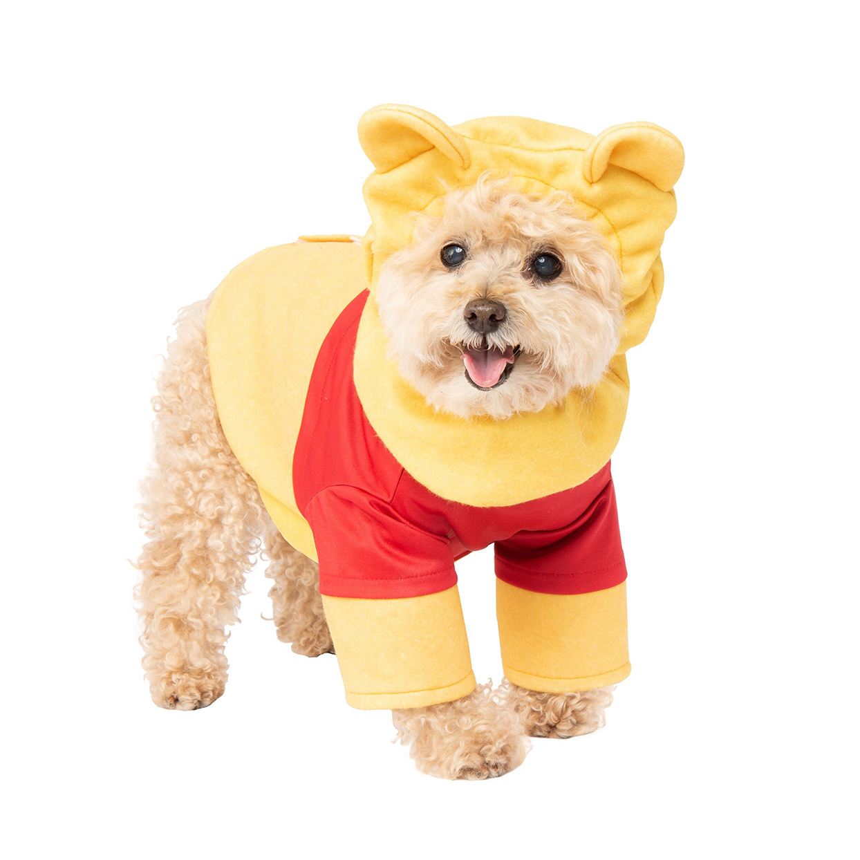 Dog wearing a Winnie the Pooh Pet Costume on a white background