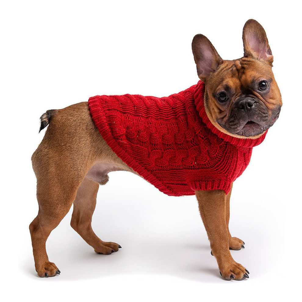 Dog wearing a red GF Pet Chalet Sweater on a white background