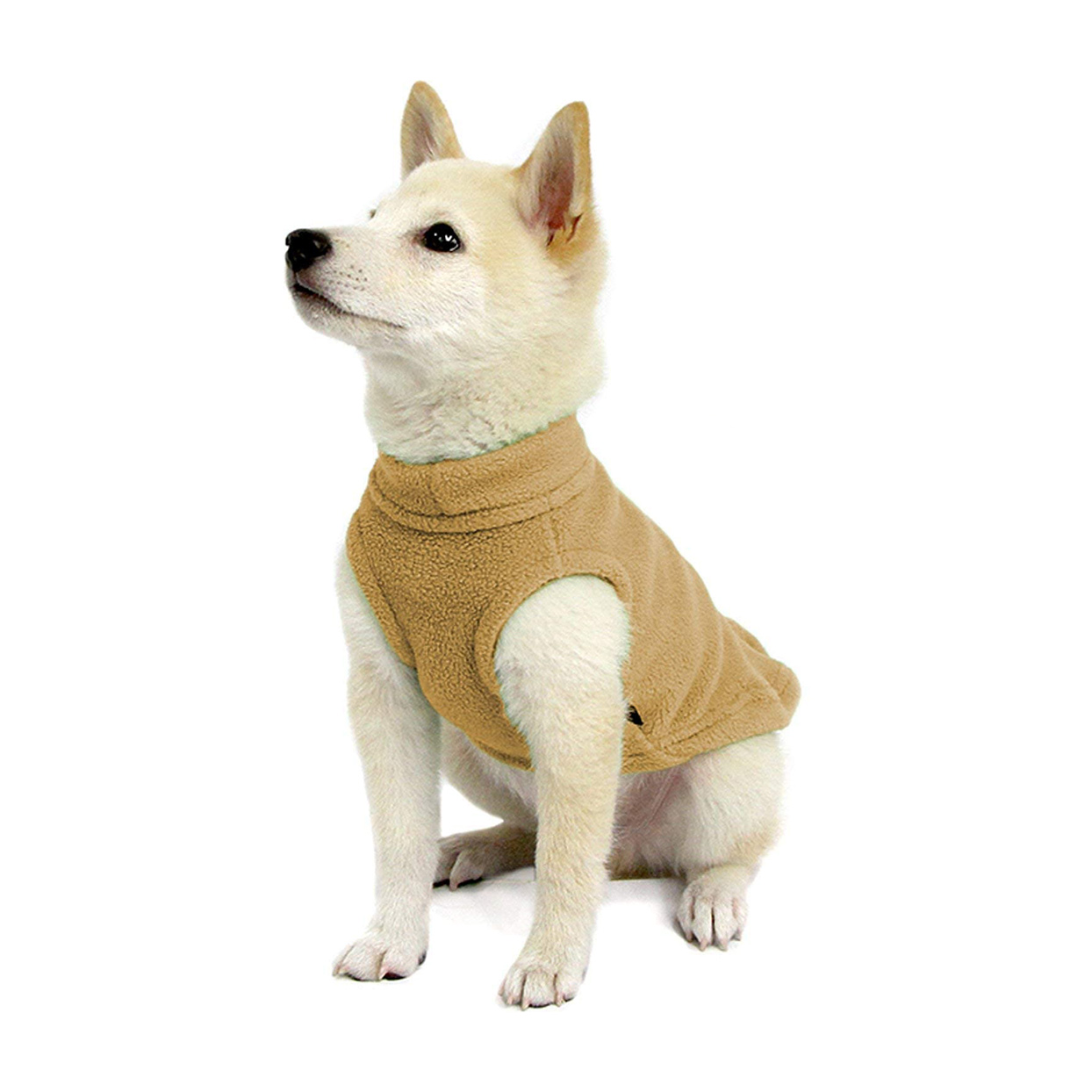 Dog wearing a Gooby Stretch Fleece Vest Sweater on a white background