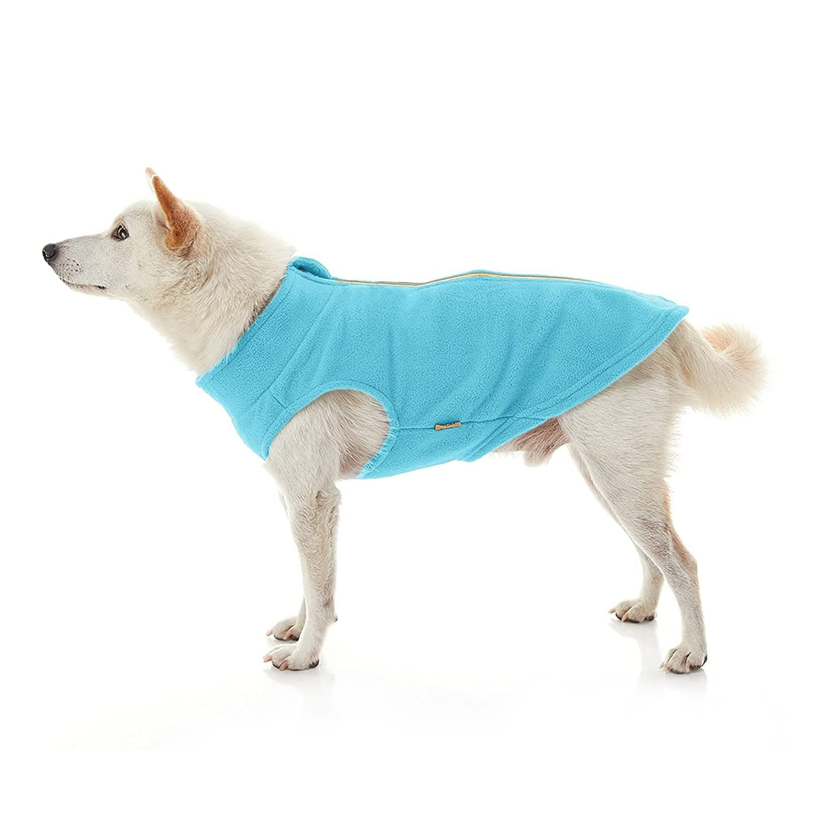 Dog wearing a Gooby Zip Up Fleece Sweater on a white background
