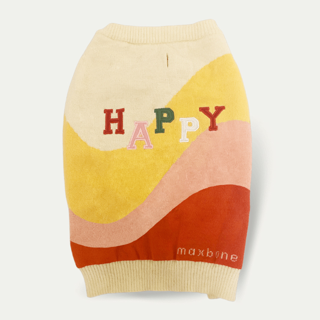 Happy Knit Jumper on a gray background
