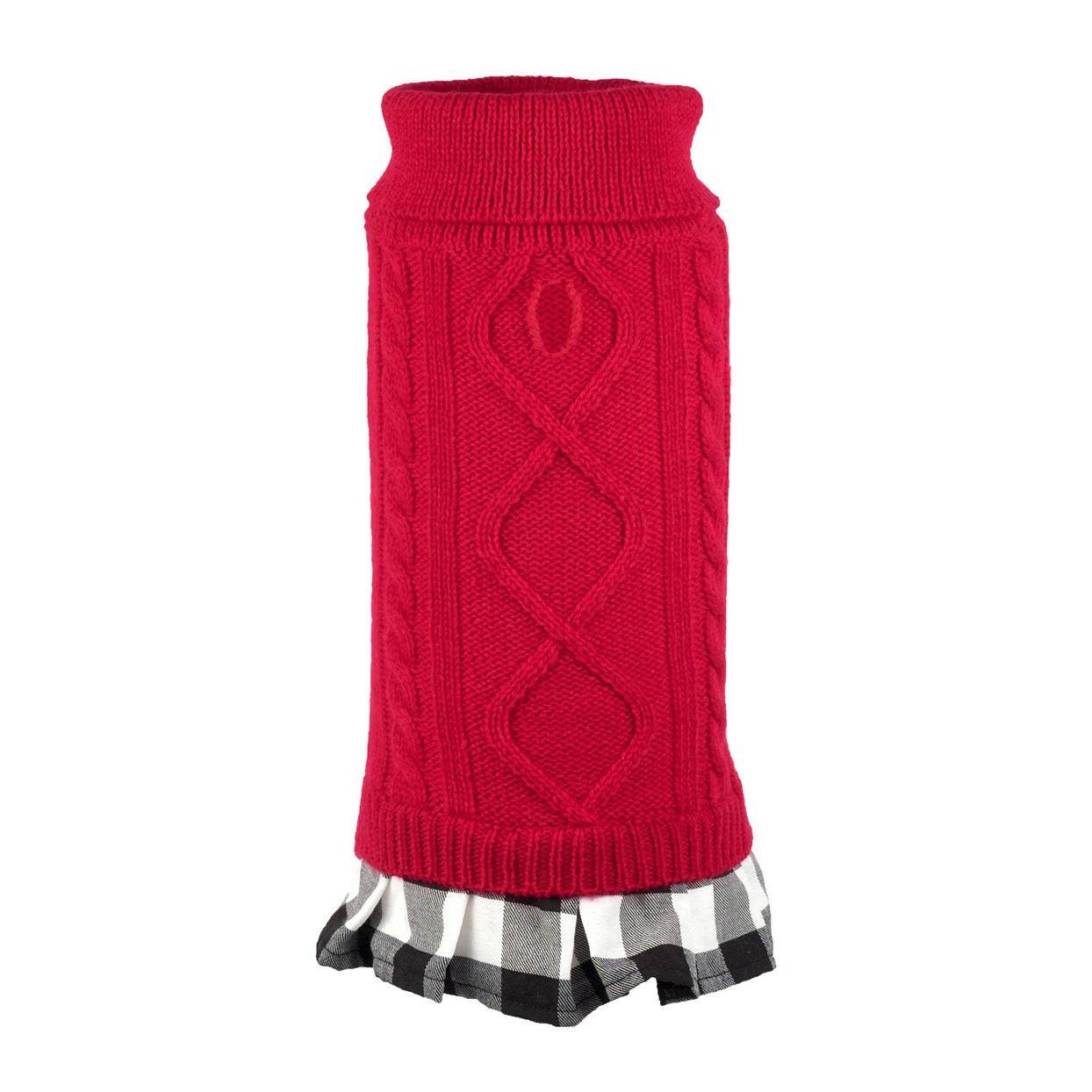 The Worthy Dog Plaid Layered-Look Two-fer Turtleneck Sweater Dress on a white background