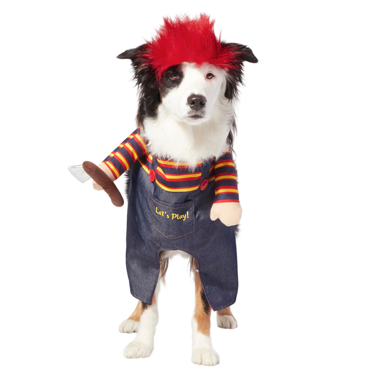 Dog wearing a Frisco Front Walking Killer Doll Cat & Dog Costume on a white background