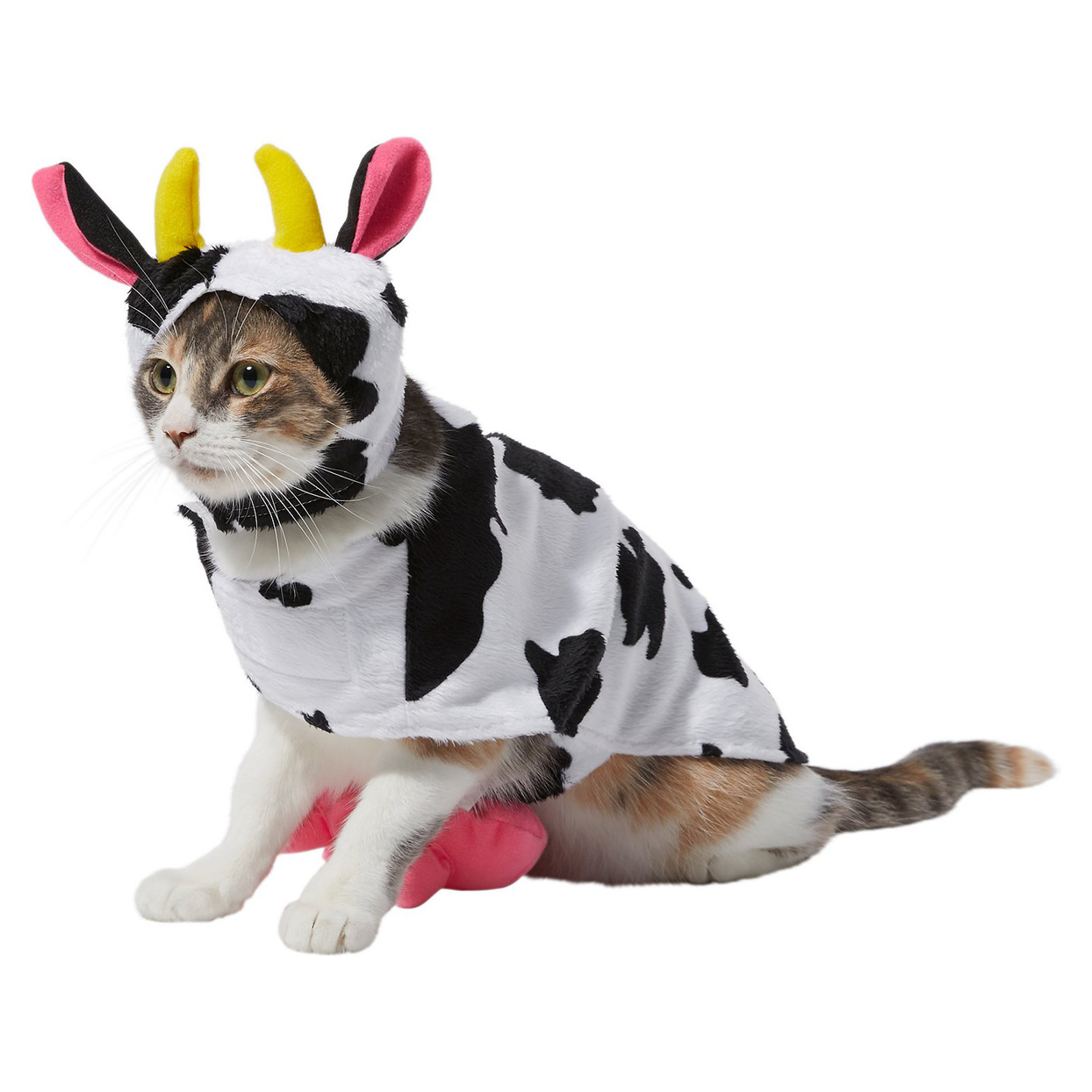 Cat wearing a Frisco Happy Cow Dog & Cat Costume on a white background