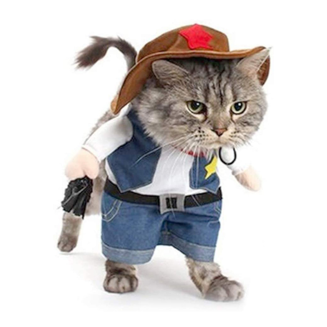 Cat wearing a NACOCO Cowboy Costume with Hat Halloween Costume on a white background