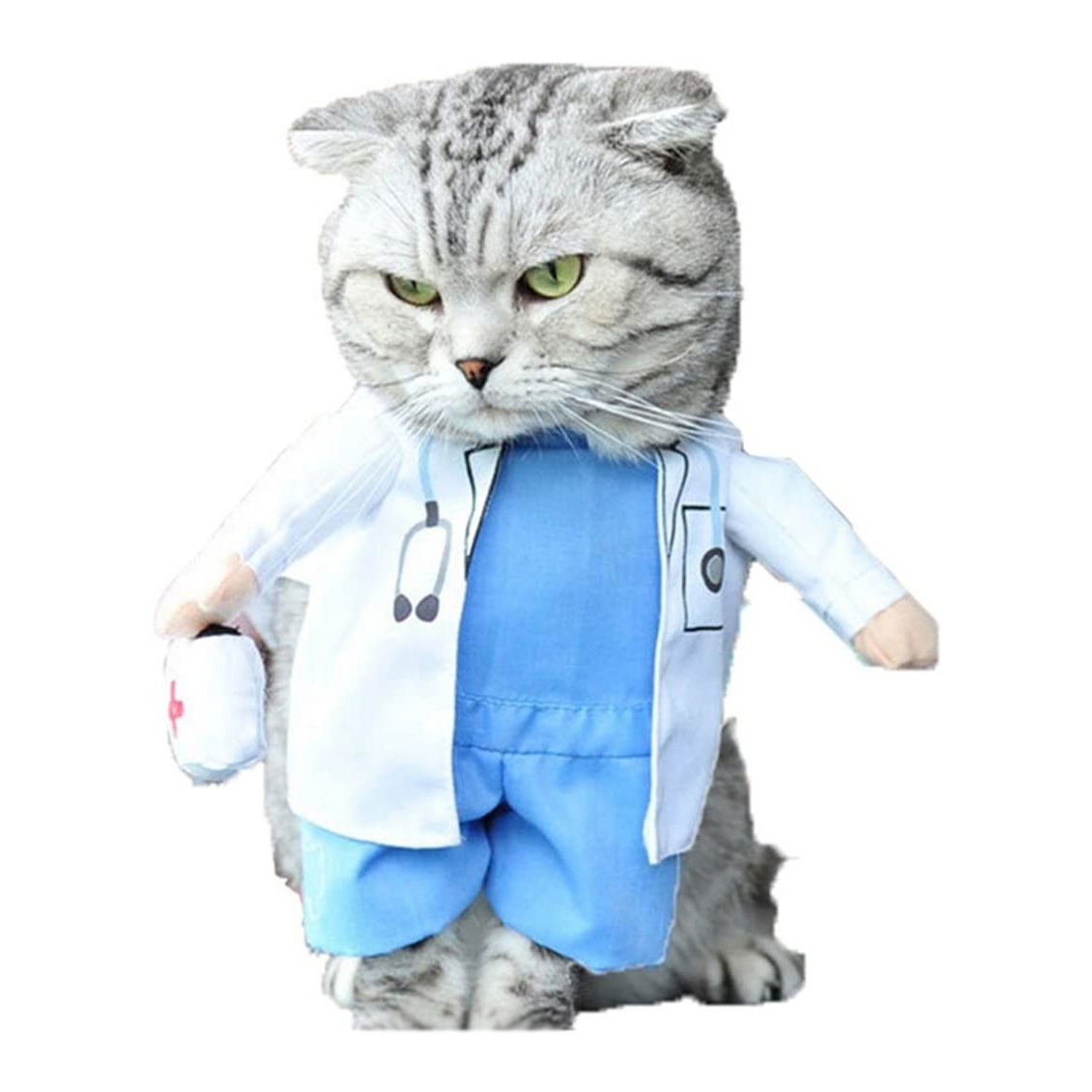 Cat wearing a NACOCO Dog Cat Doctor Costume on a white background
